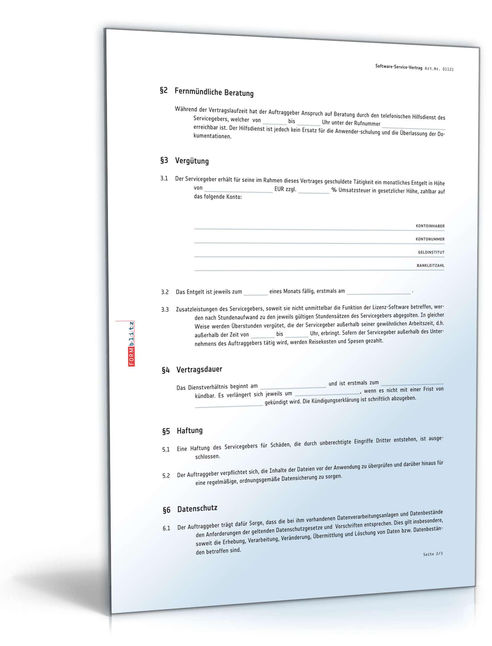Software Service Vertrag Vorlage Zum Download