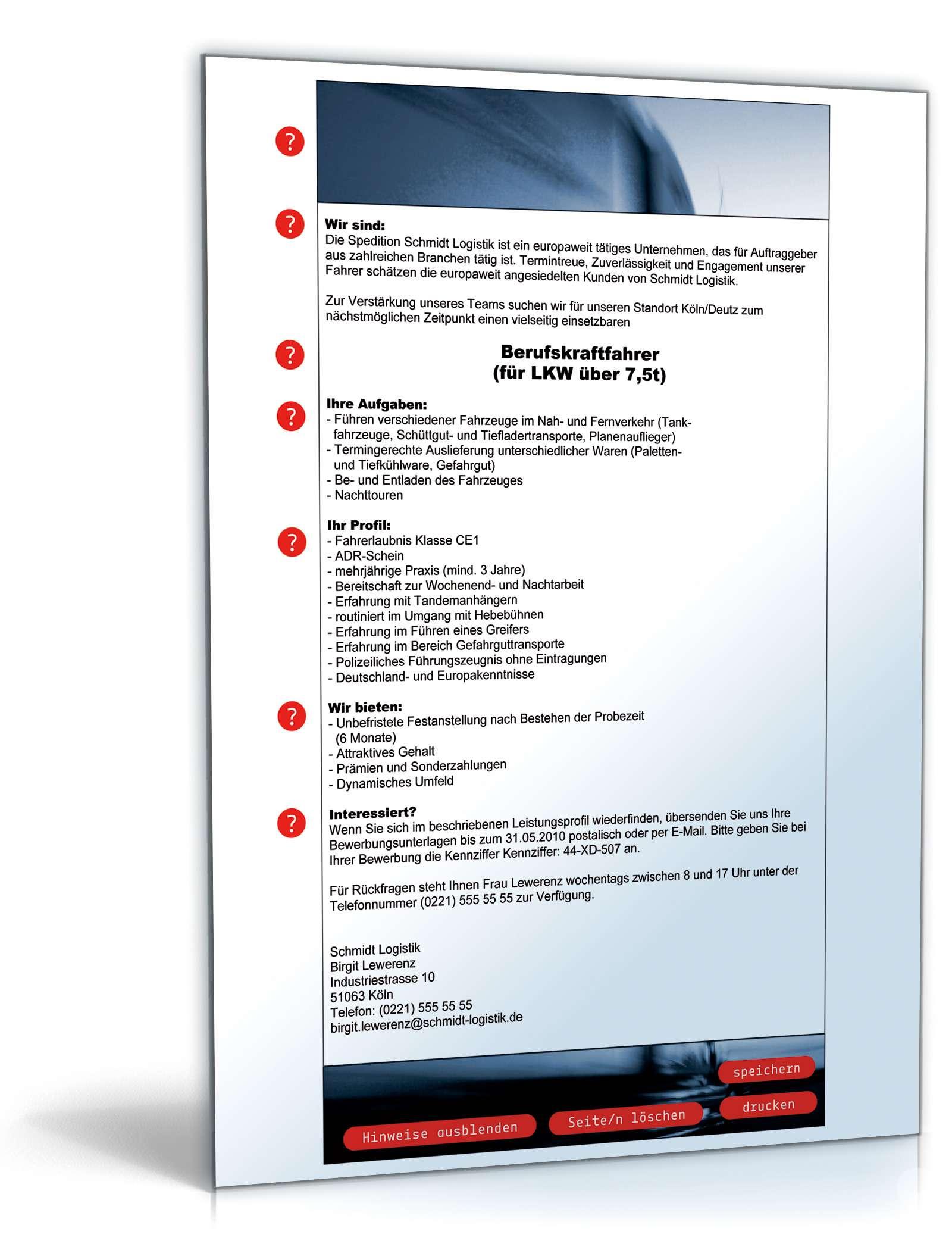 Stellenausschreibung Berufskraftfahrer Muster Zum Download