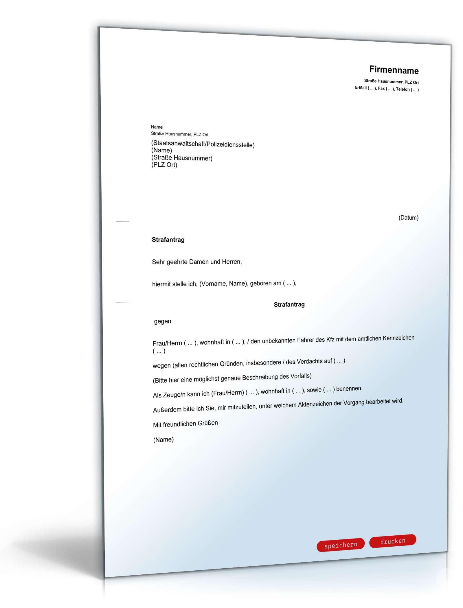 Strafantrag Rechtssicheres Muster Downloaden Ausfüllen