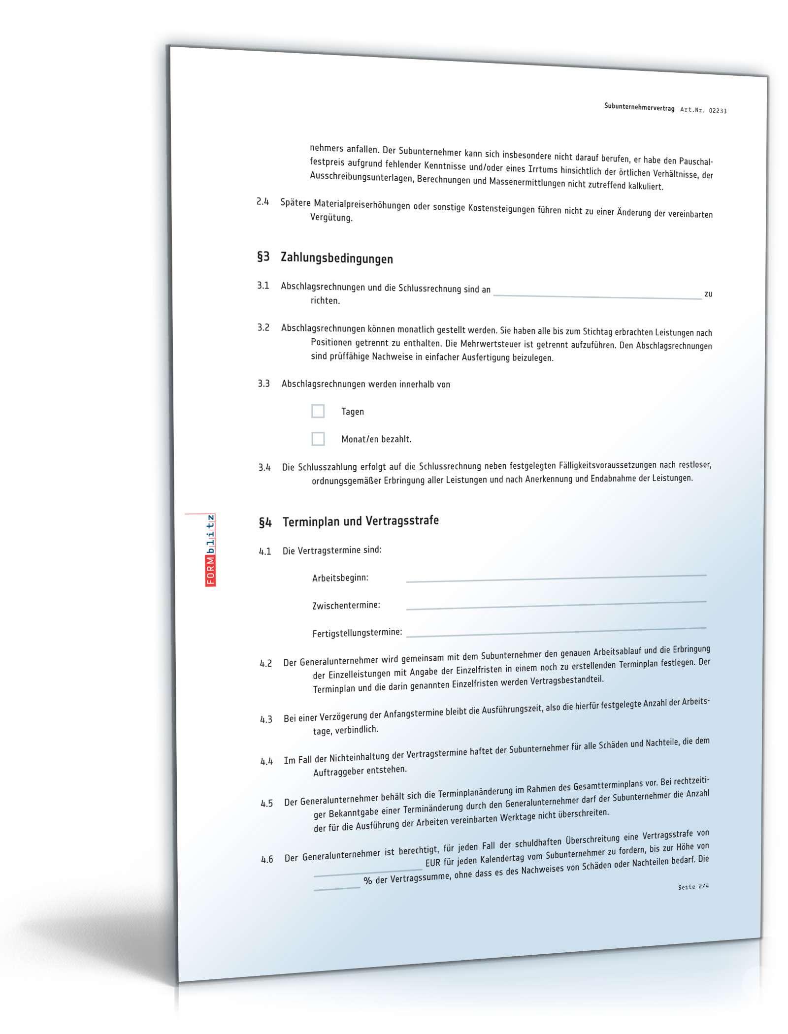 Subunternehmervertrag: Rechtssicherer Vordruck zum Download