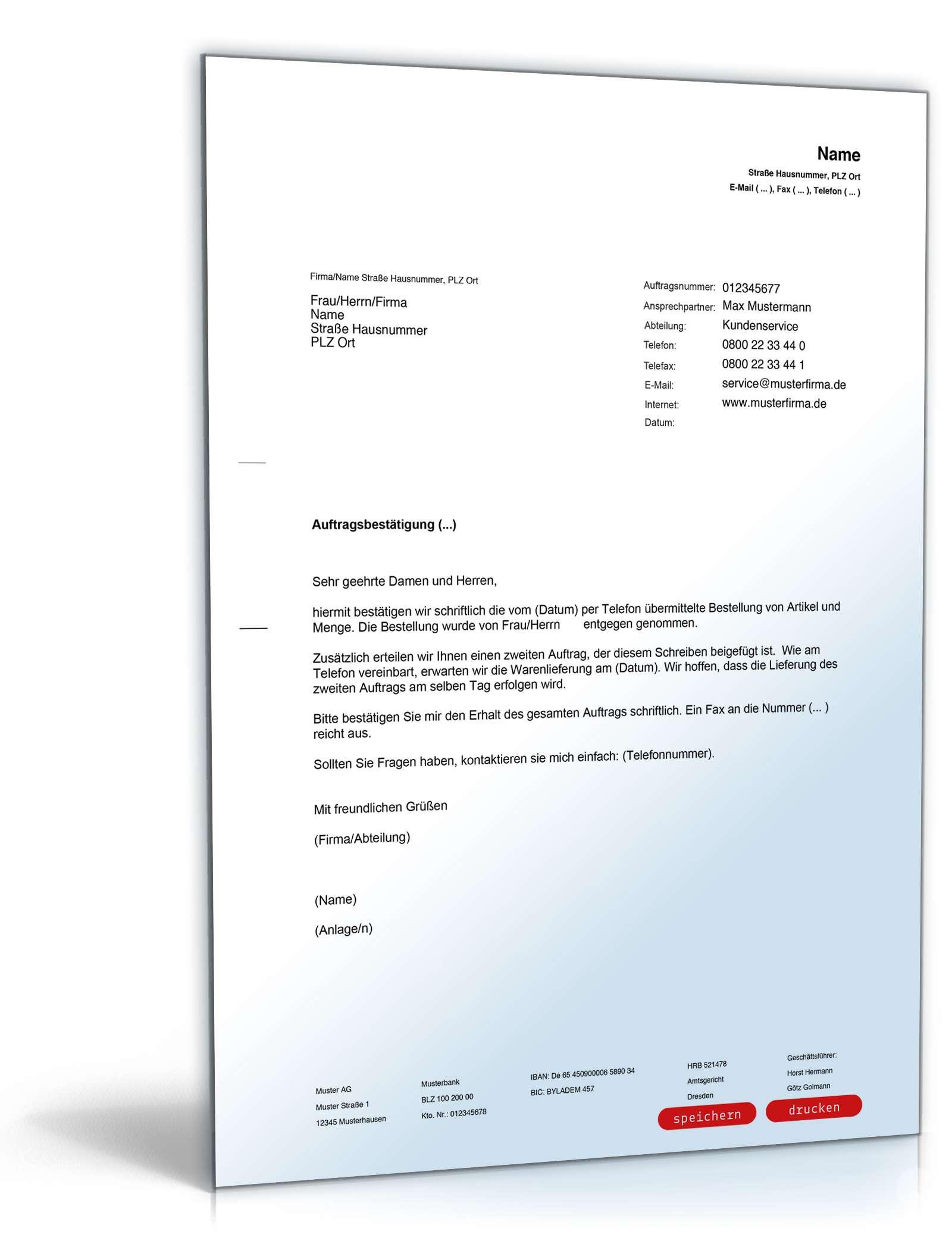 Bestätigung telefonischer Auftrag | Vorlage zum Download