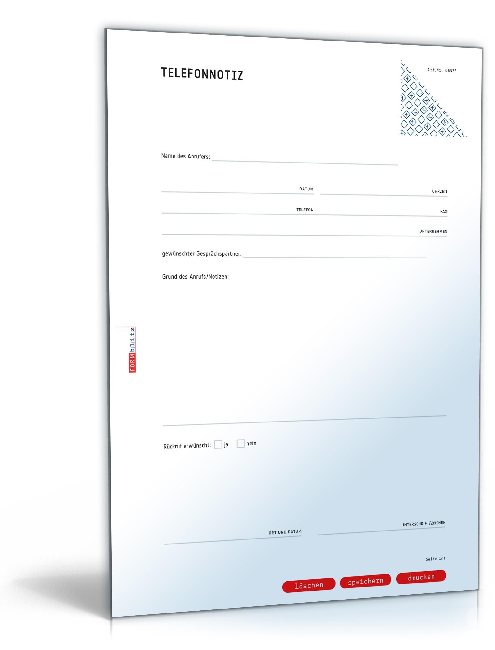 Musterbriefe Kostenlos Geschäftsbriefe : Telefonnotiz vorlage zum download