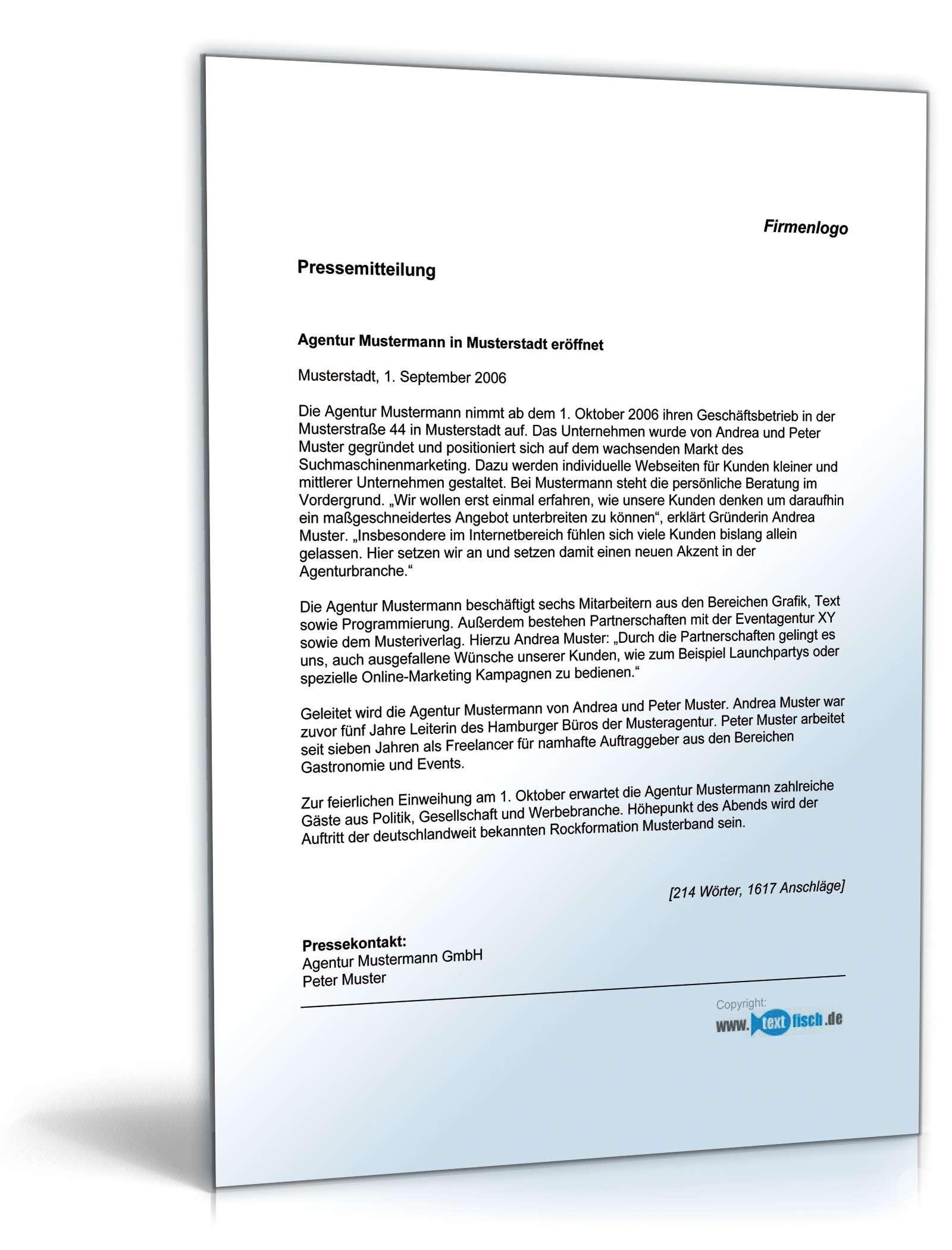 Pressemitteilung Neugründung Agentur | Muster zum Download