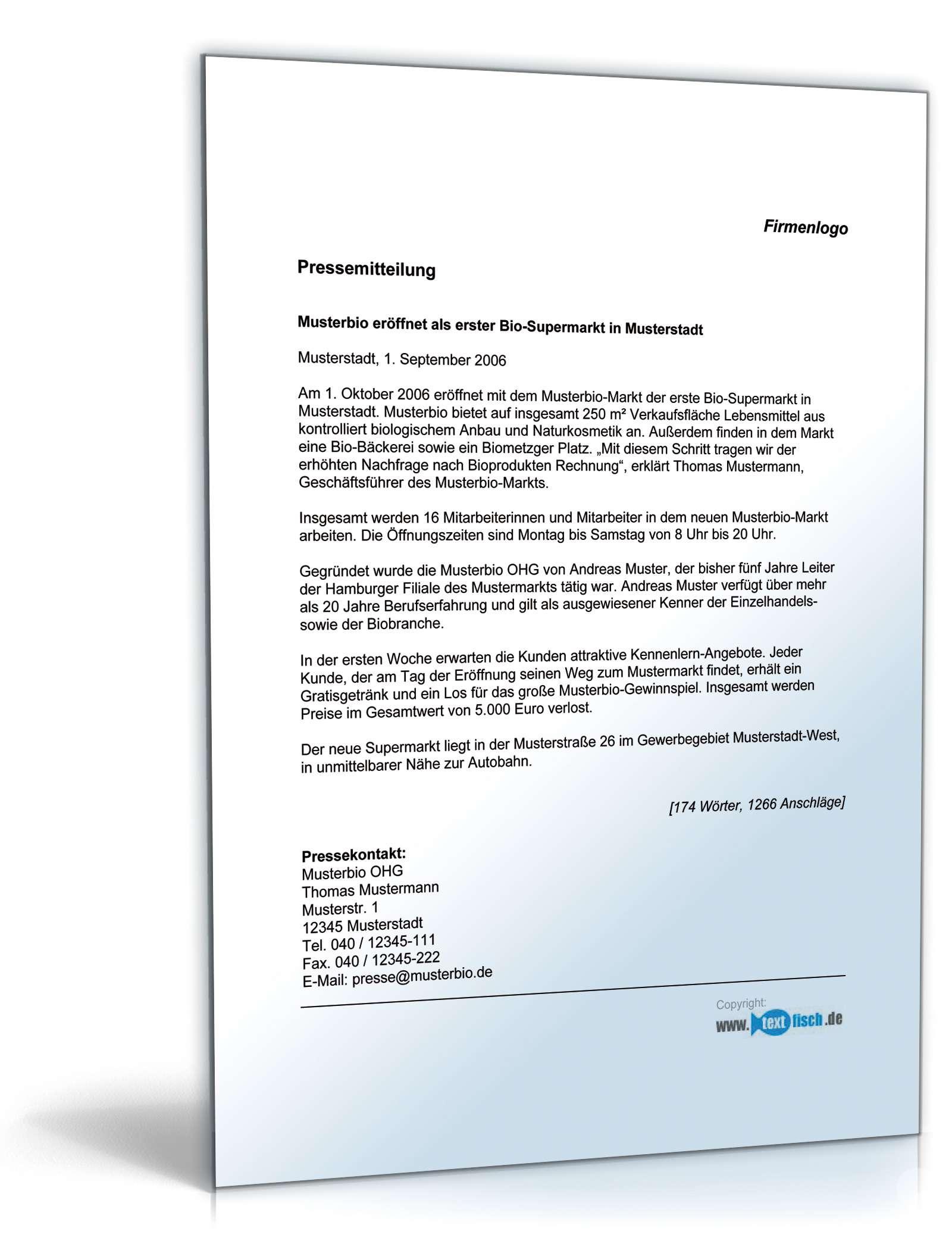 Pressemitteilung Eröffnung Bio Supermarkt Muster Zum Download
