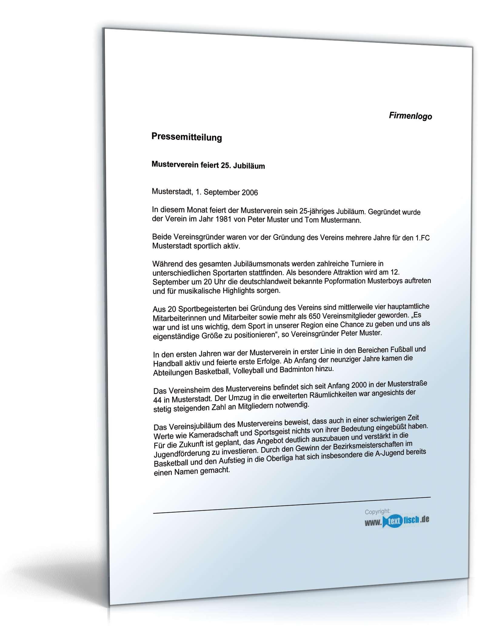 Pressemitteilung Jubiläum Sportverein   Muster zum Download