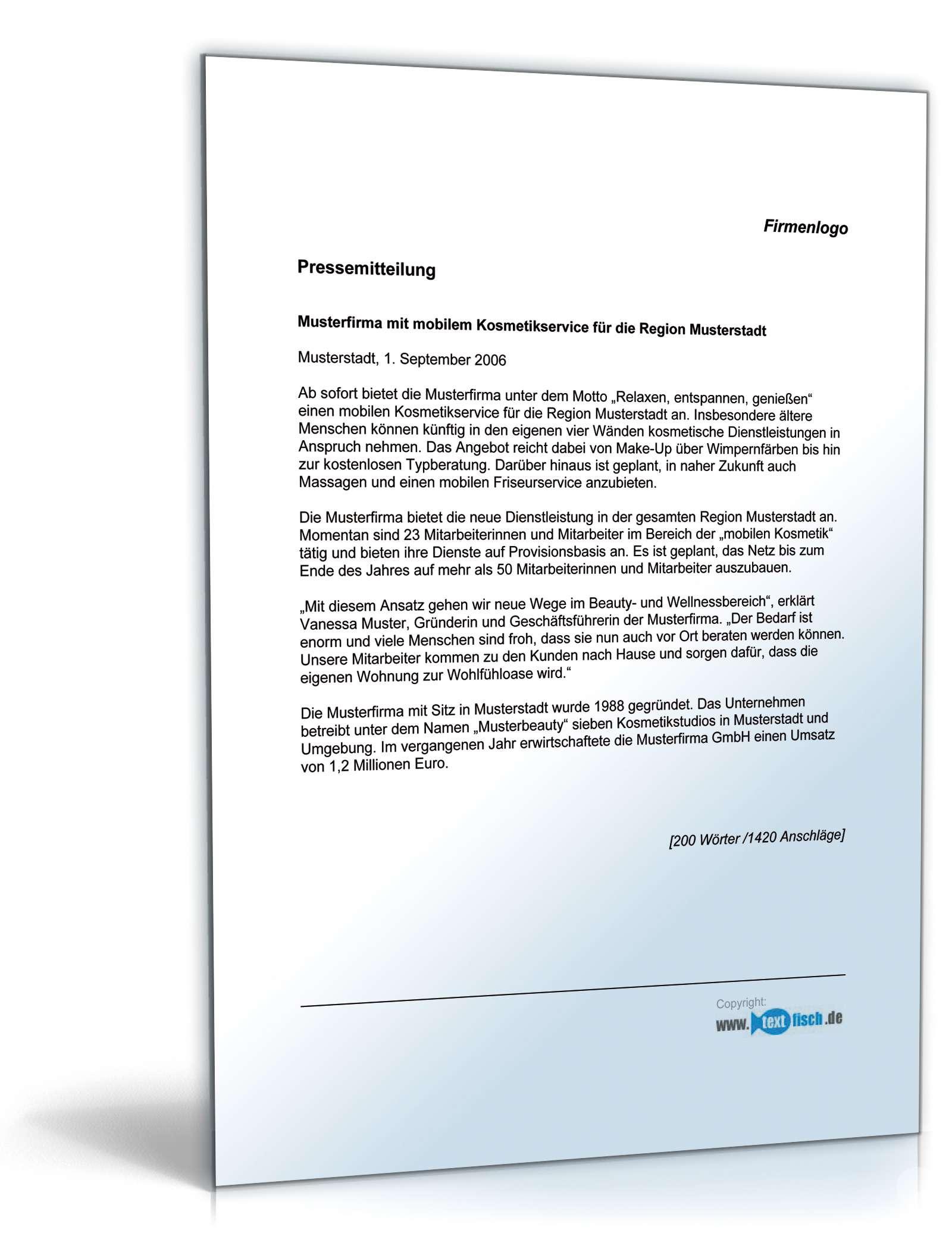 Pressemitteilung Vorstellung Dienstleistung Muster Zum Download