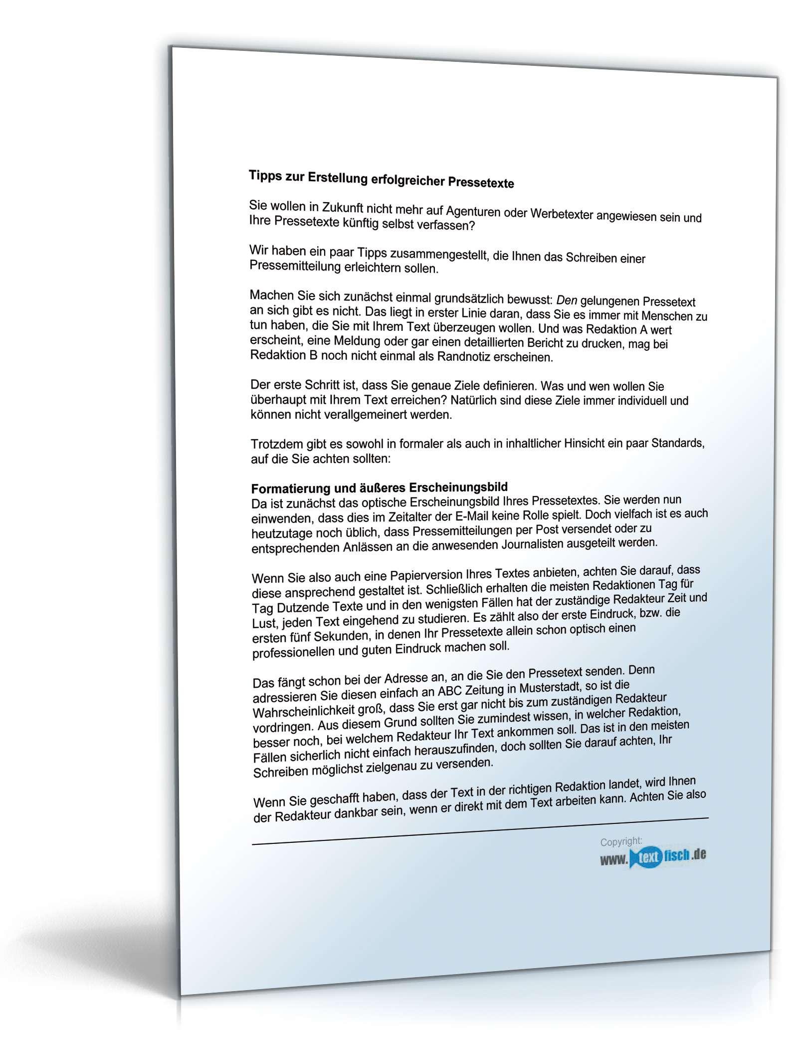 Pressemitteilung über neue Kooperation | Muster zum Download