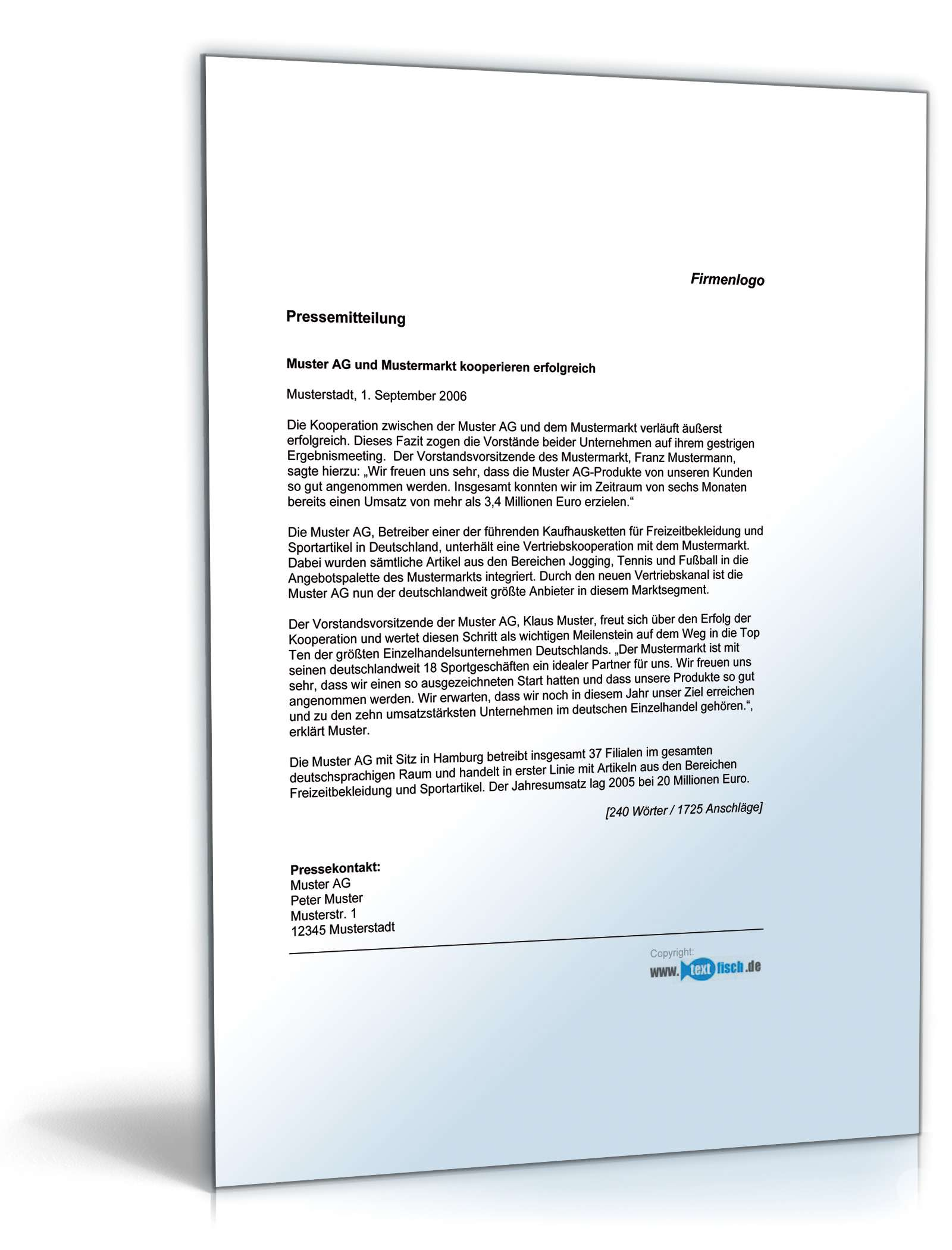 Musterbriefe Zusammenarbeit : Pressemitteilung ergebnisse kooperation muster zum download