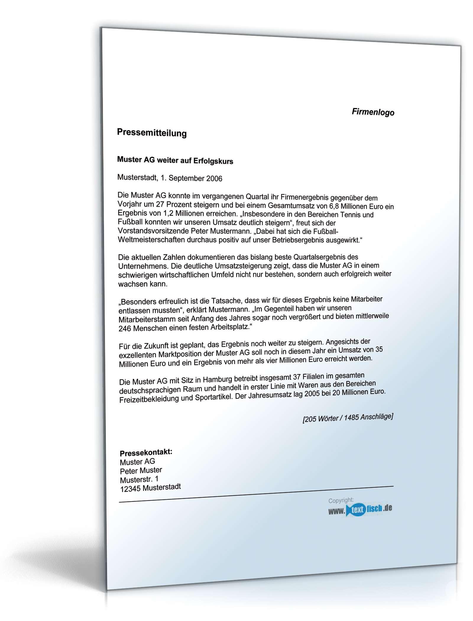 Pressemitteilung Geschäftsergebnis | Muster zum Download