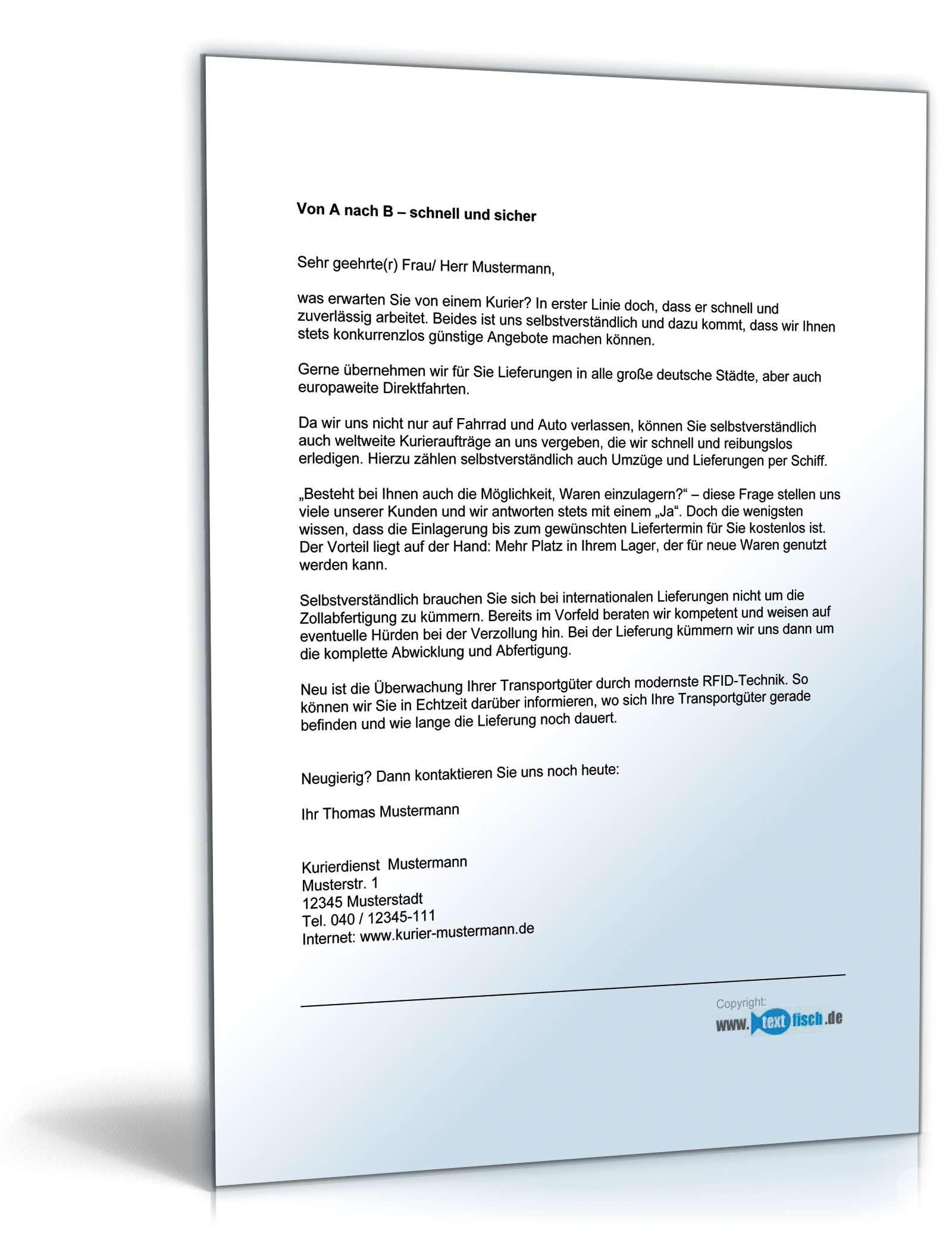 Werbebrief Kurierdienst Kaltakquise   Muster zum Download