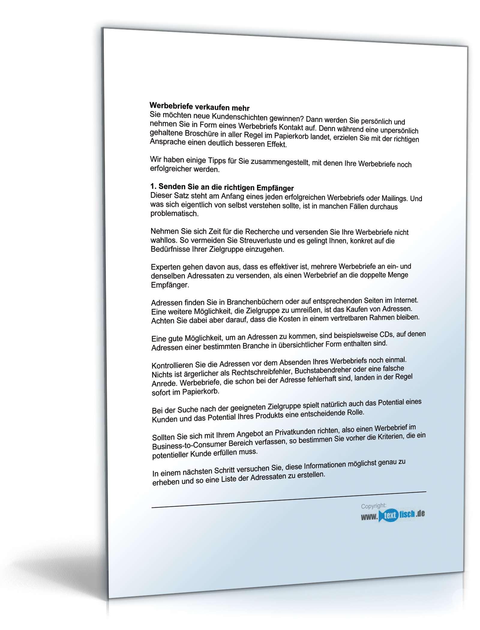 Werbebrief Kurierdienst Kaltakquise | Muster zum Download