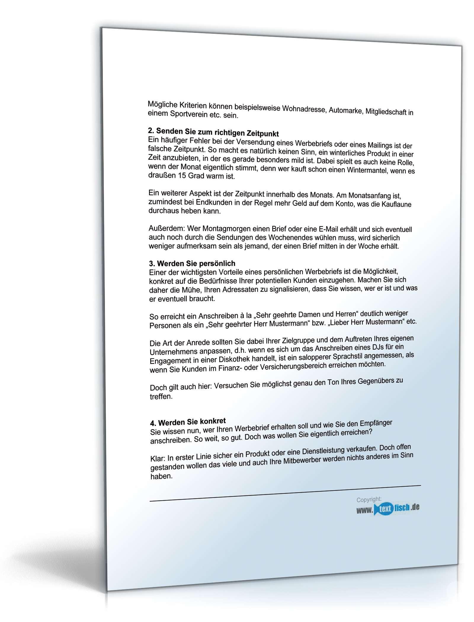 Werbebrief für einen Finanzberater   Muster zum Download