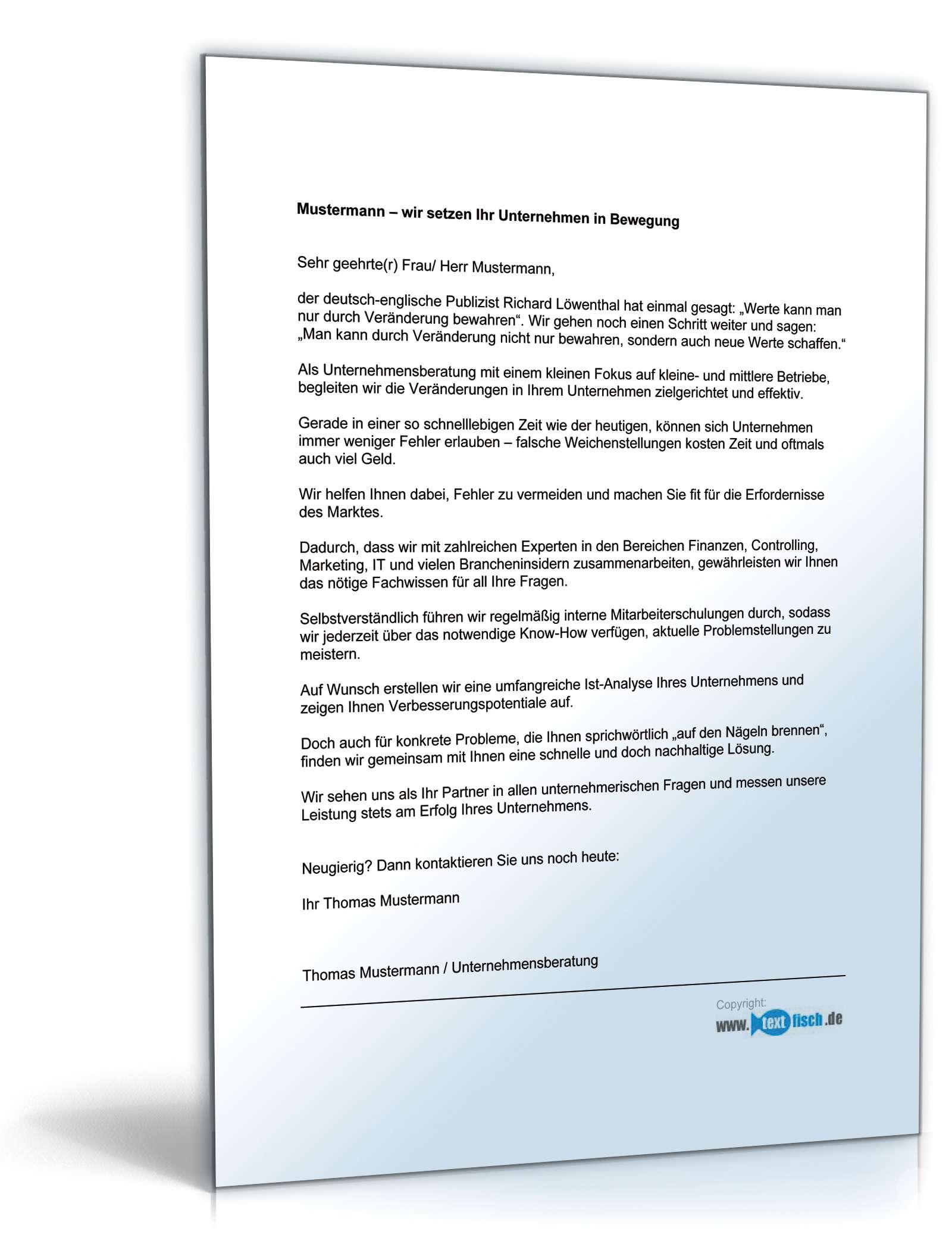 Werbebrief Für Unternehmensberatung Muster Zum Download