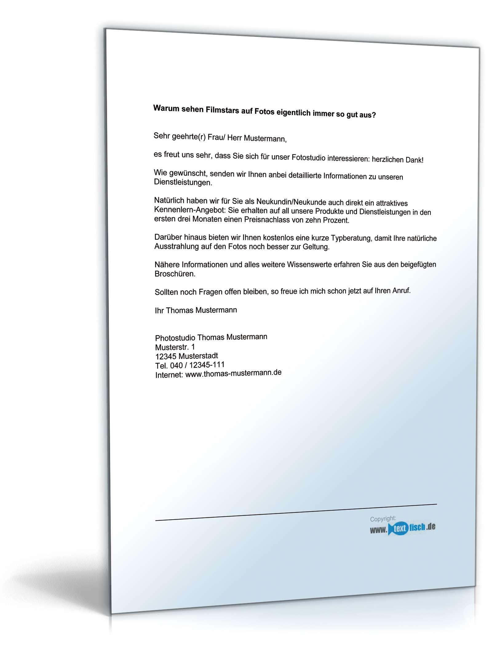 Begleitbrief zum Werbebrief Fotograf | Muster zum Download