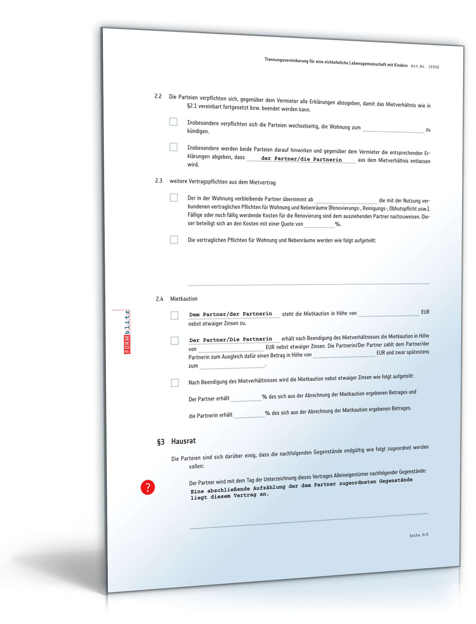 trennungsvereinbarung kinder vorlage - Trennungsvereinbarung Muster Kostenlos