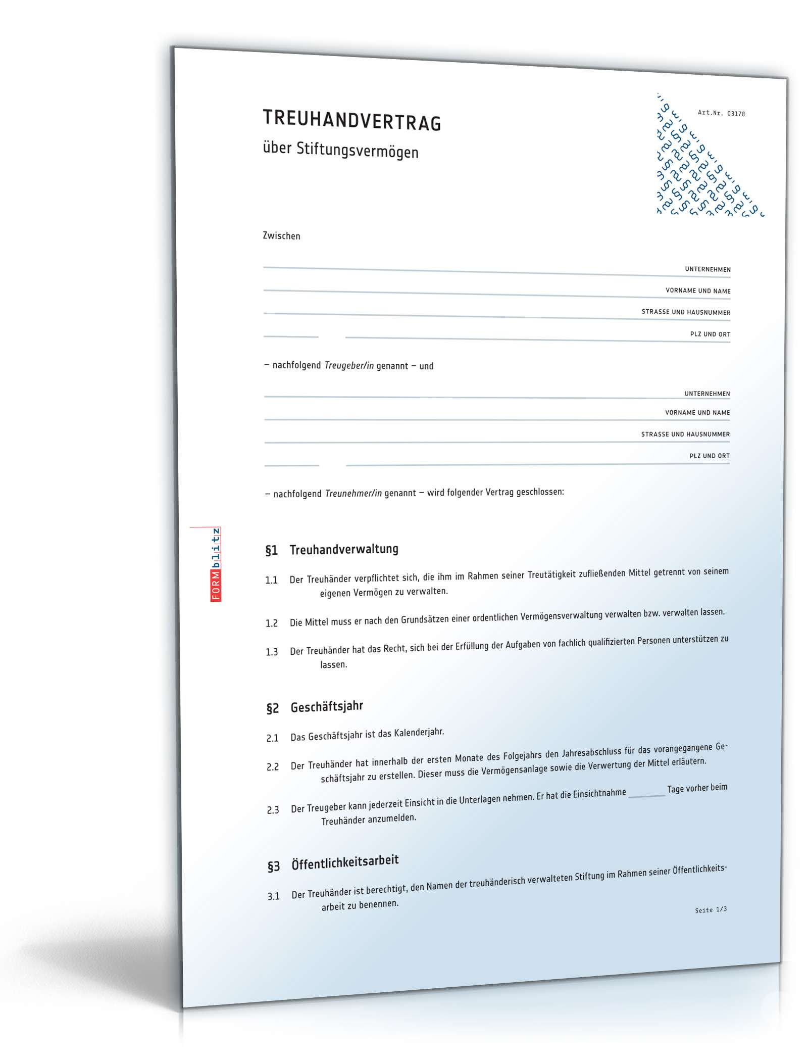 treuhandvertrag stiftungsvermgen - Treuhandvertrag Muster