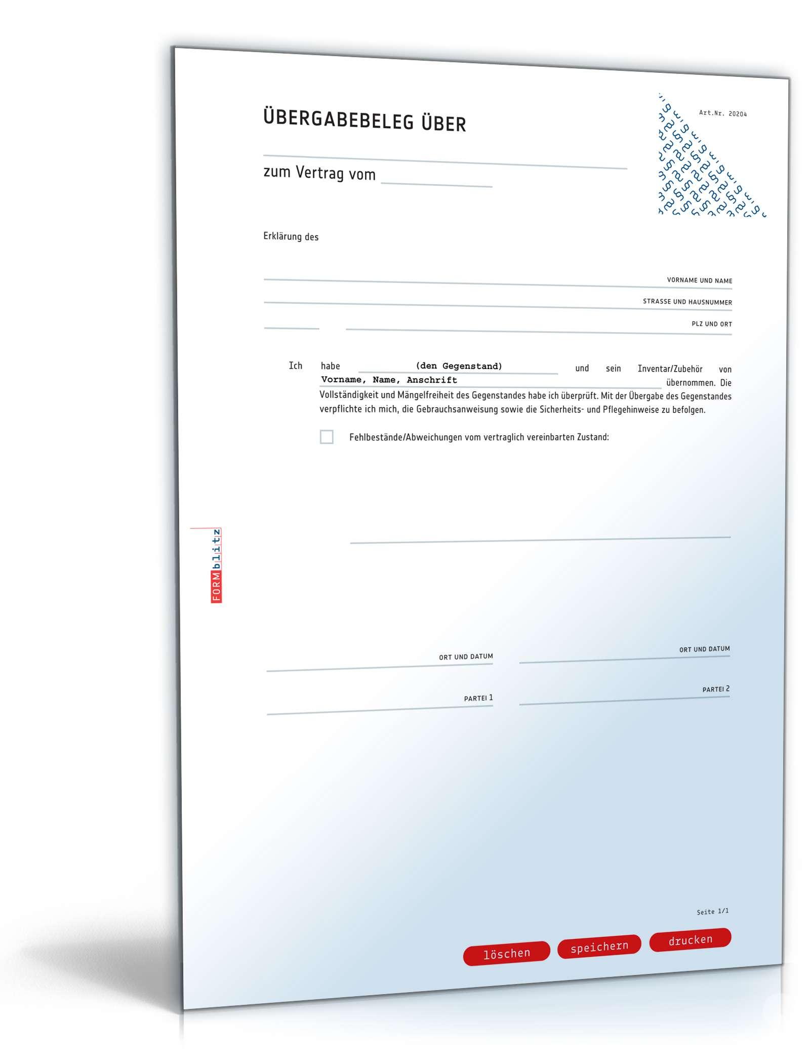 bergabebeleg rckgabebeleg fr gegenstnde zum download - Ubergabeprotokoll Muster Gegenstande