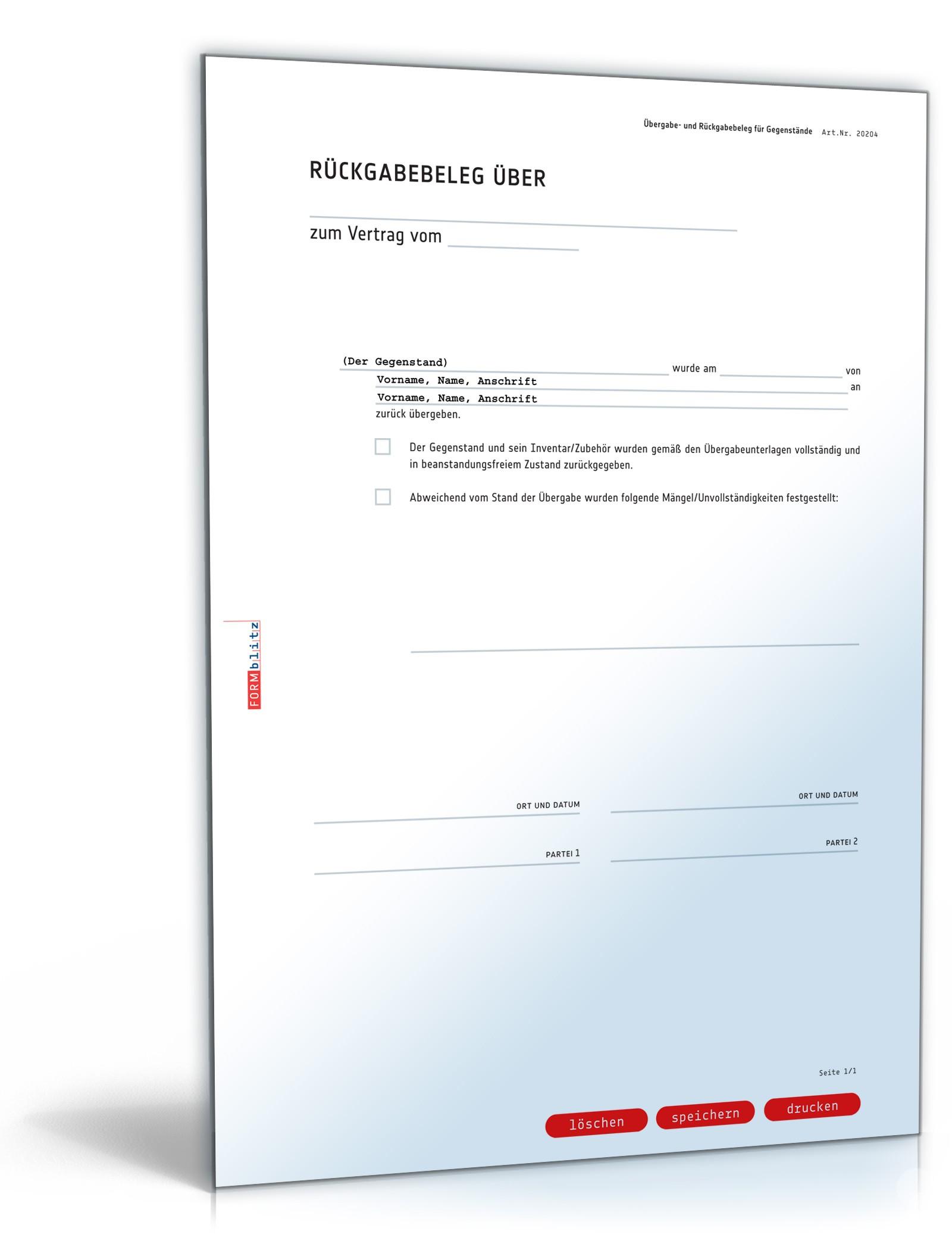 Übergabebeleg | Rückgabebeleg für Gegenstände zum Download