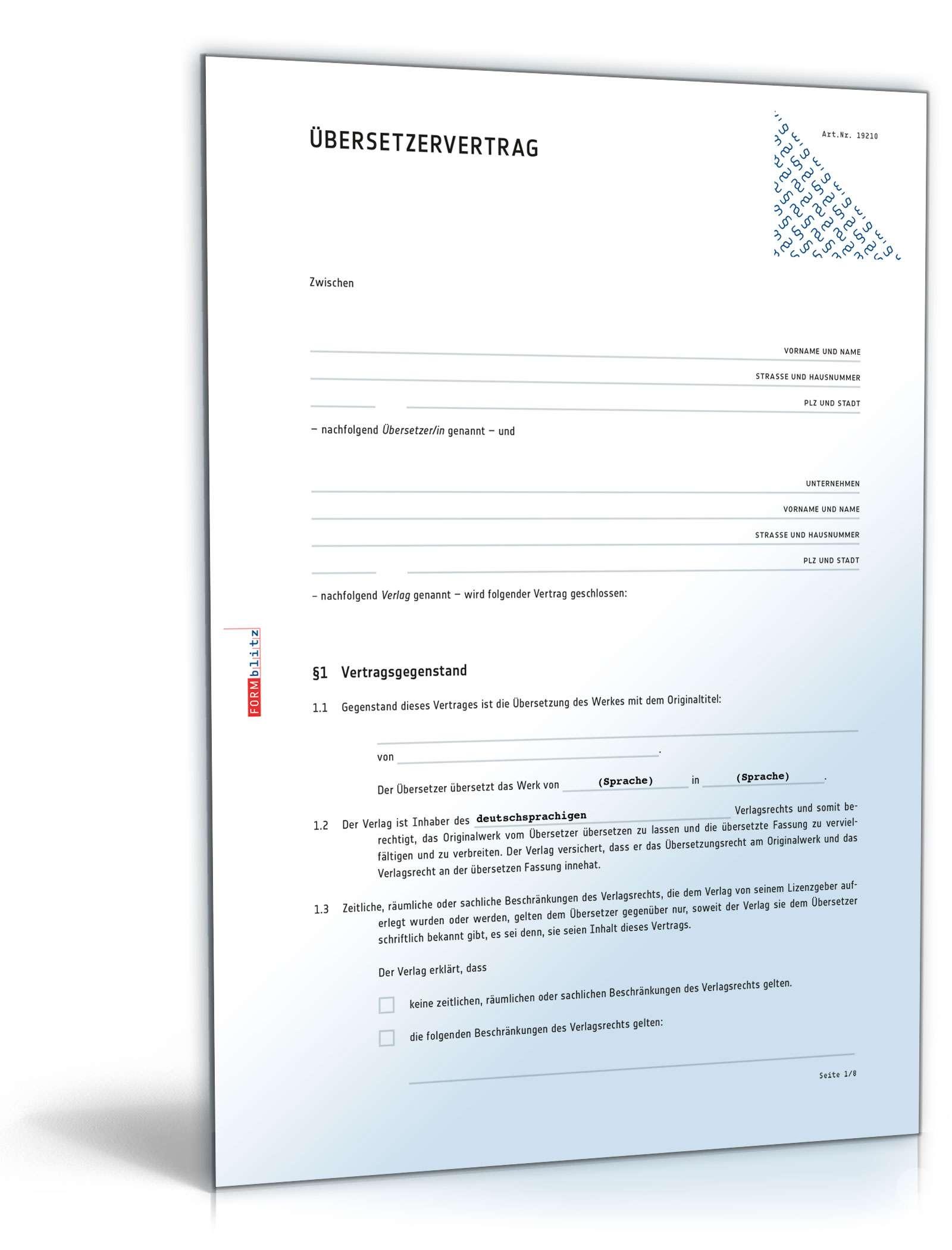 übersetzervertrag Anwaltsgeprüftes Muster Zum Download