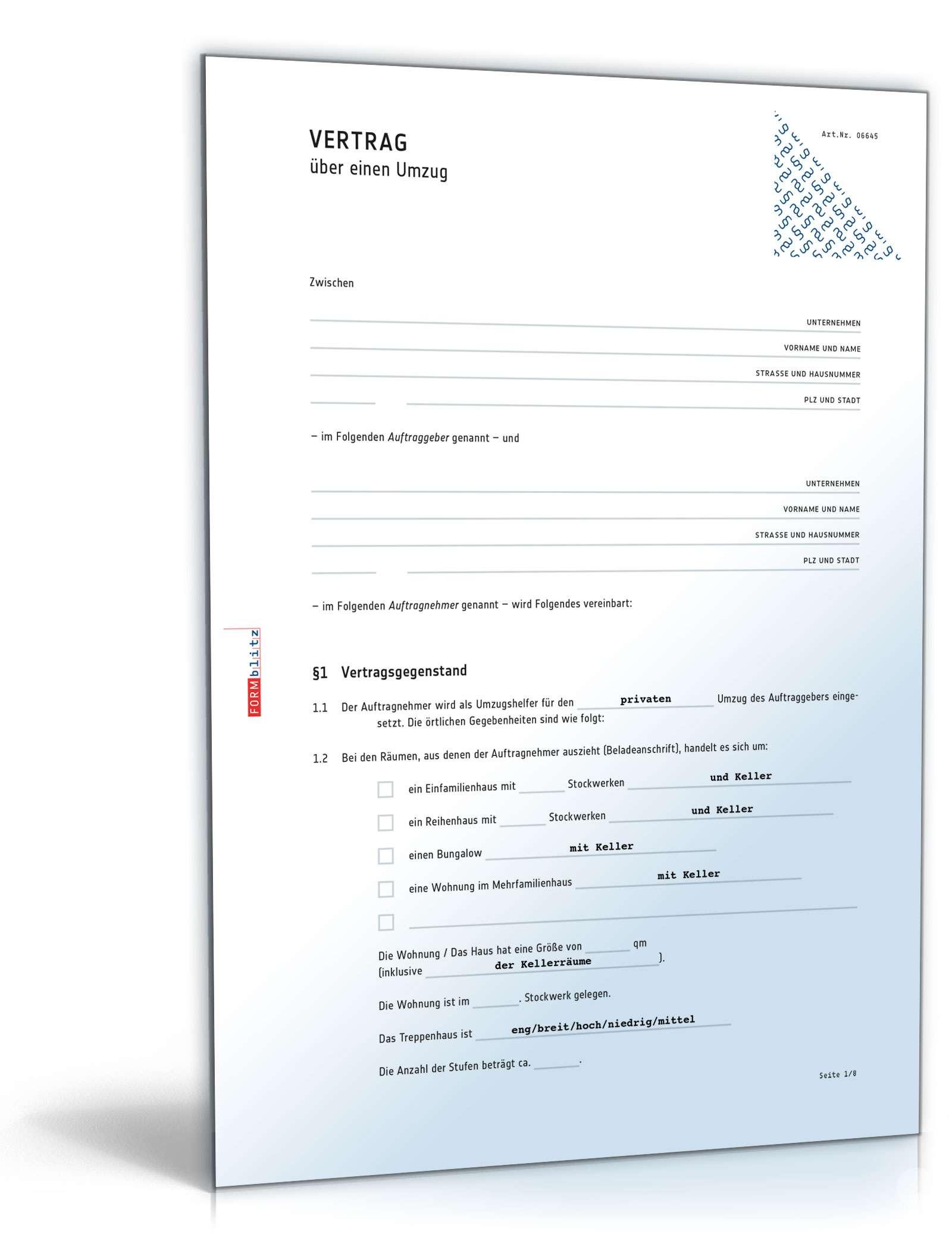 Umzugsvertrag Muster Zum Download Als Word Pdf