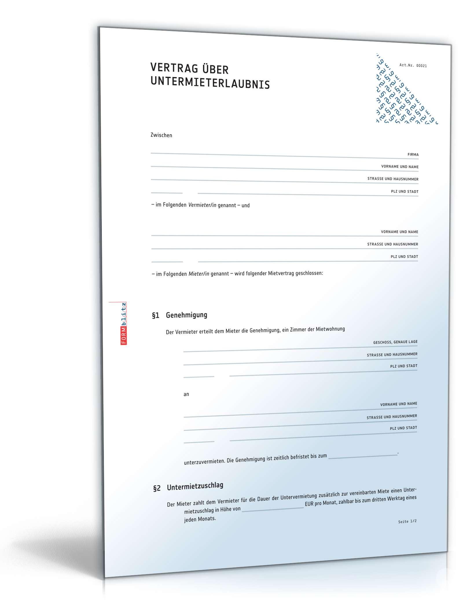 Untermieterlaubnis Rechtssicheres Muster Zum Download
