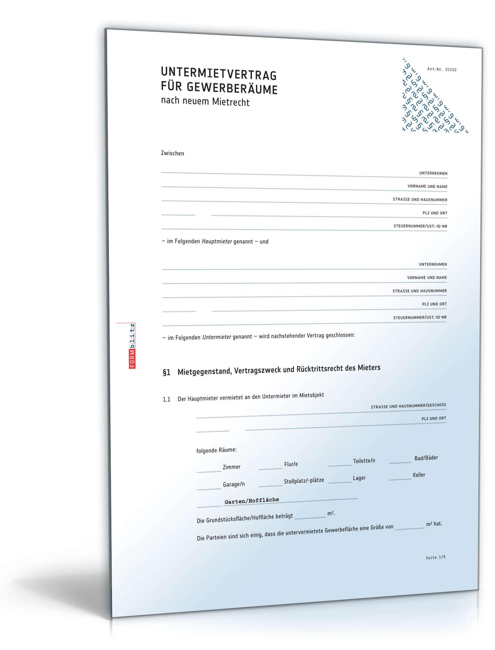 Untermietvertrag Gewerberäume Rechtssicheres Muster Zum Download