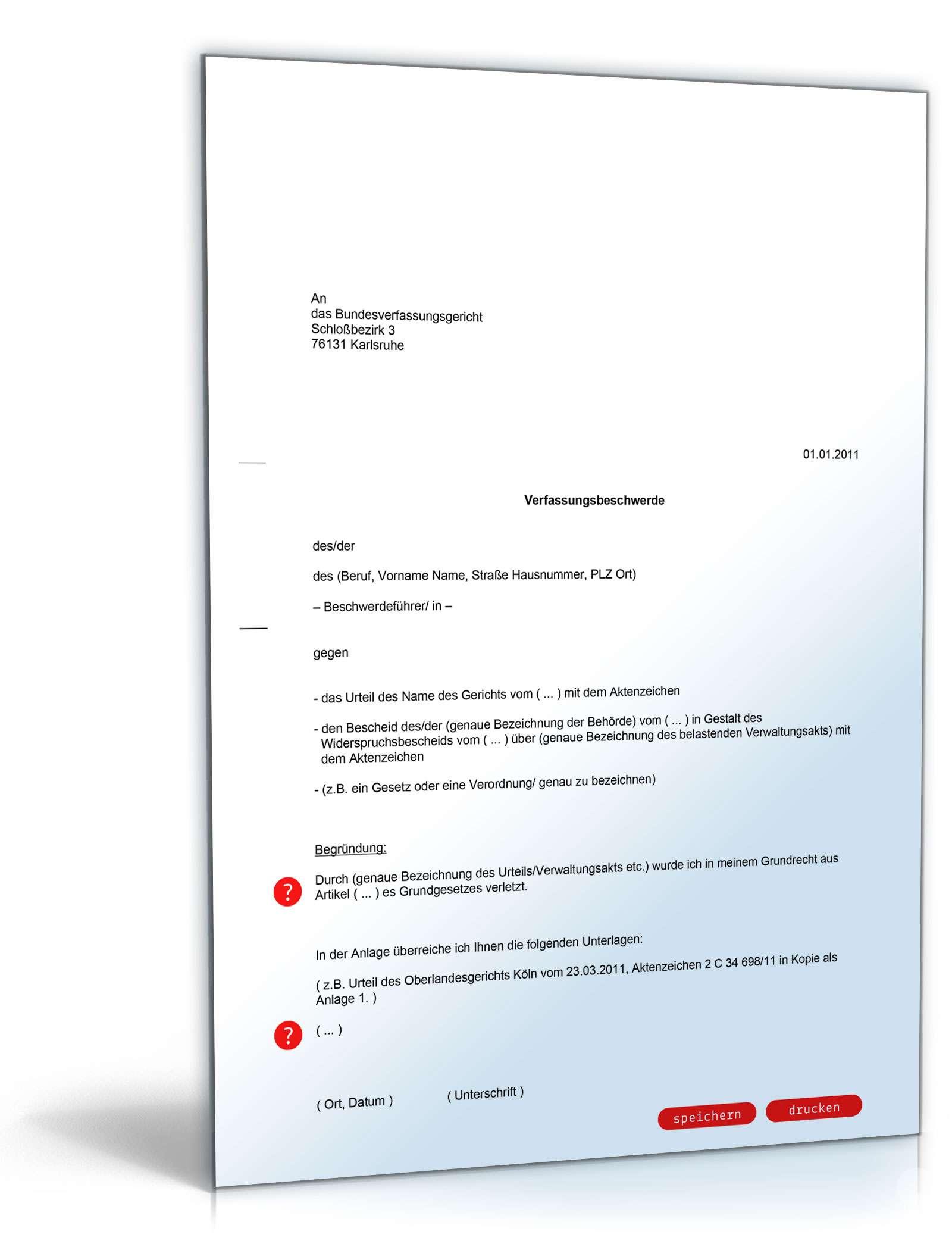 Verfassungsbeschwerde Rechtssicheres Muster Zum Download