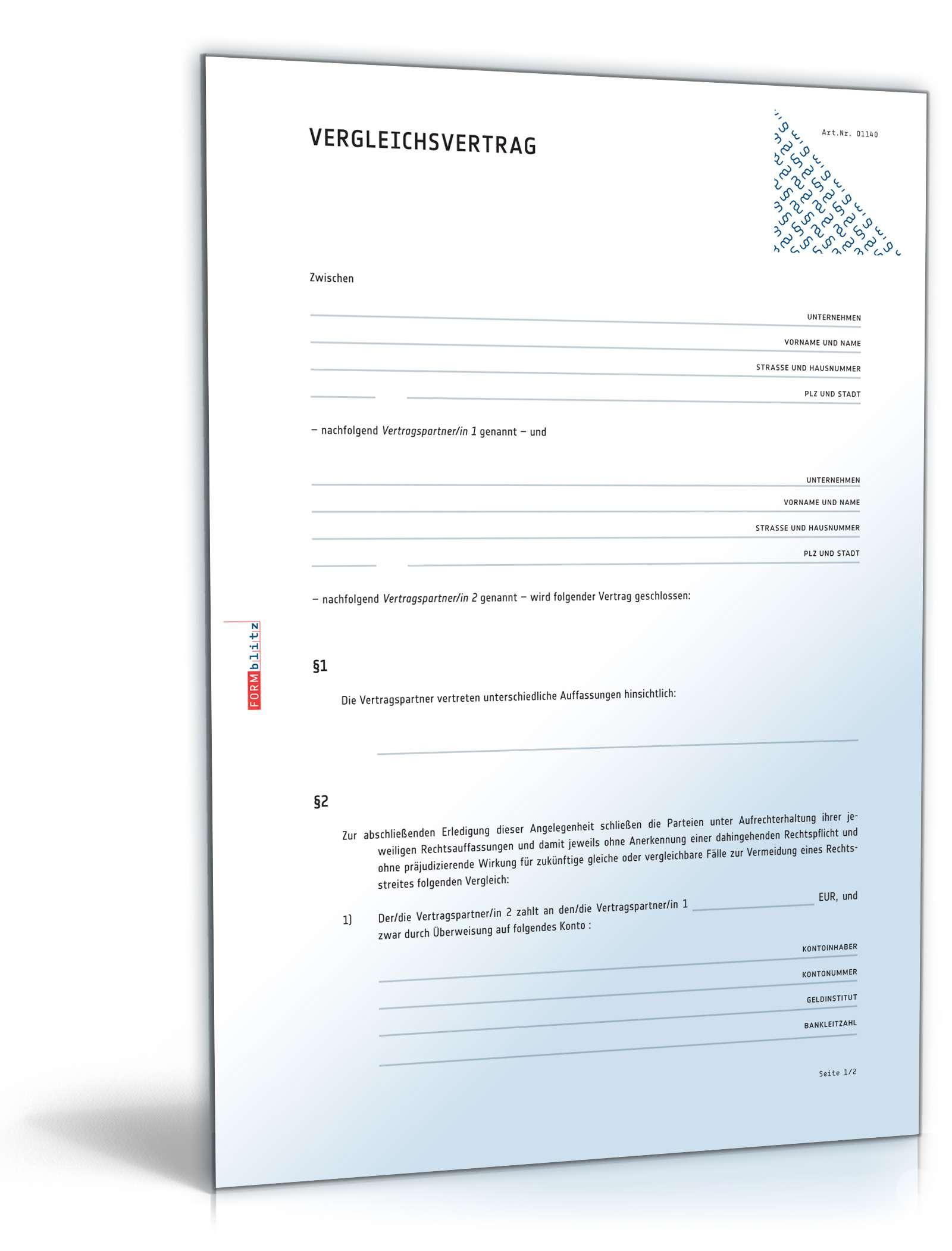 Vergleichsvertrag | Rechtssichere Vorlage zum Download
