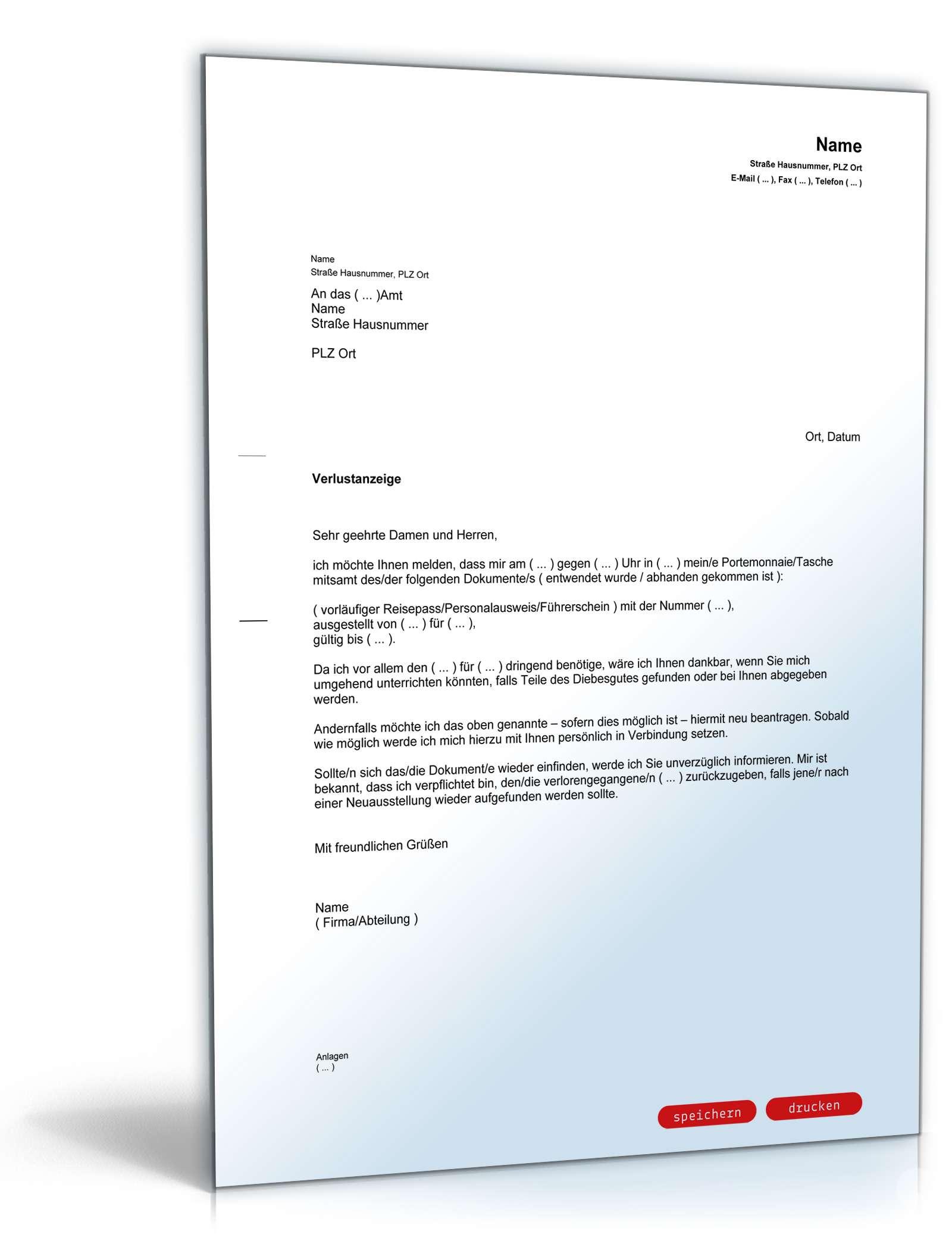 Verlustanzeige Dokumente Vorlage Zum Download