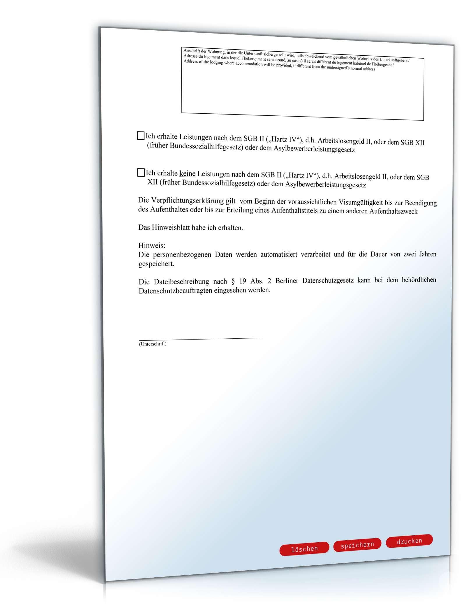 verpflichtungserklärung für einladung visumspflichtiger ausländer, Einladung