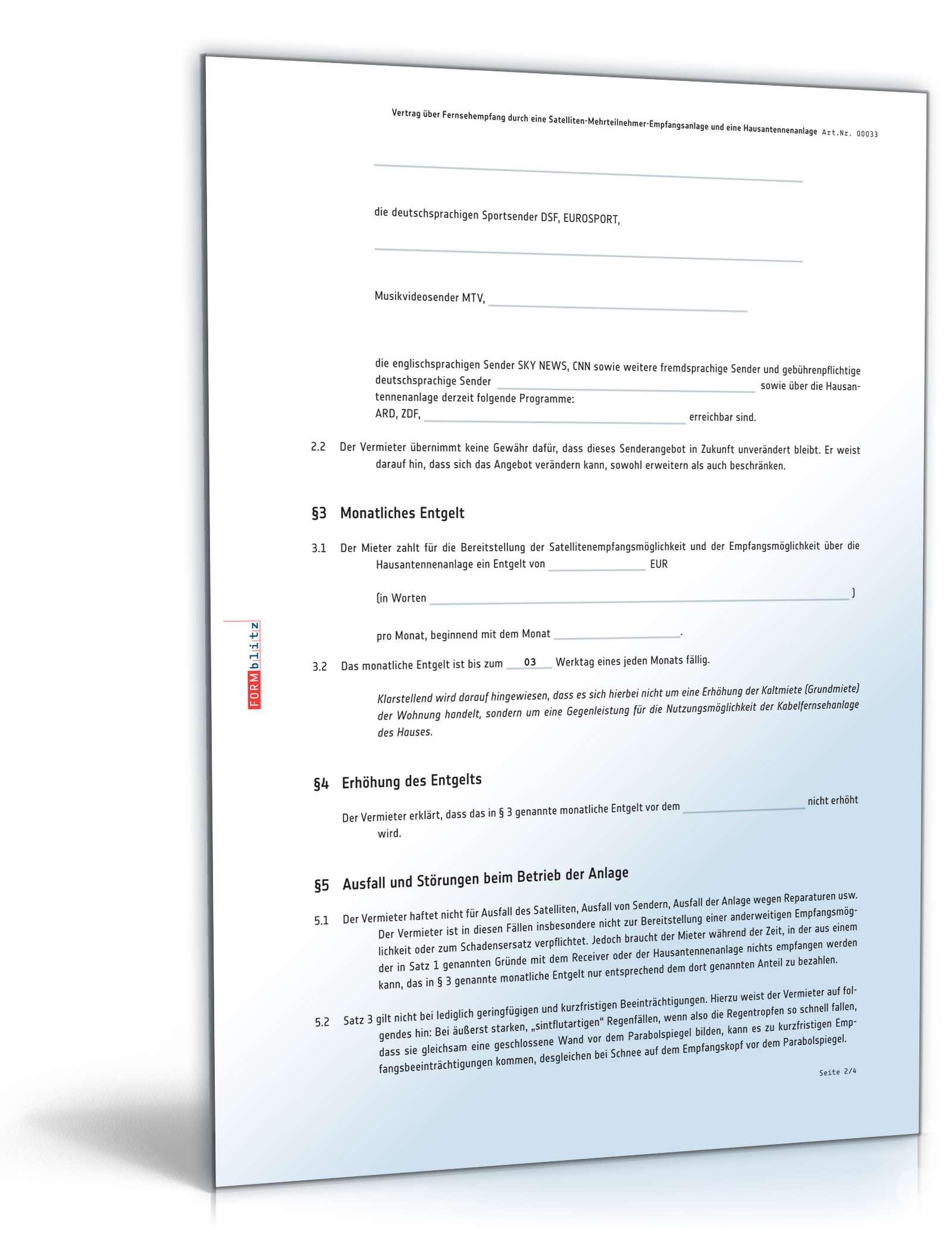 Nutzungsvertrag Satellitenanlage Muster Zum Download