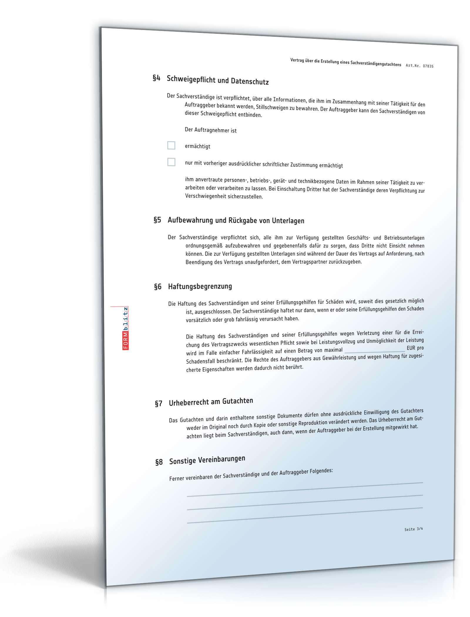 Vertrag Sachverständigengutachten | Muster zum Download