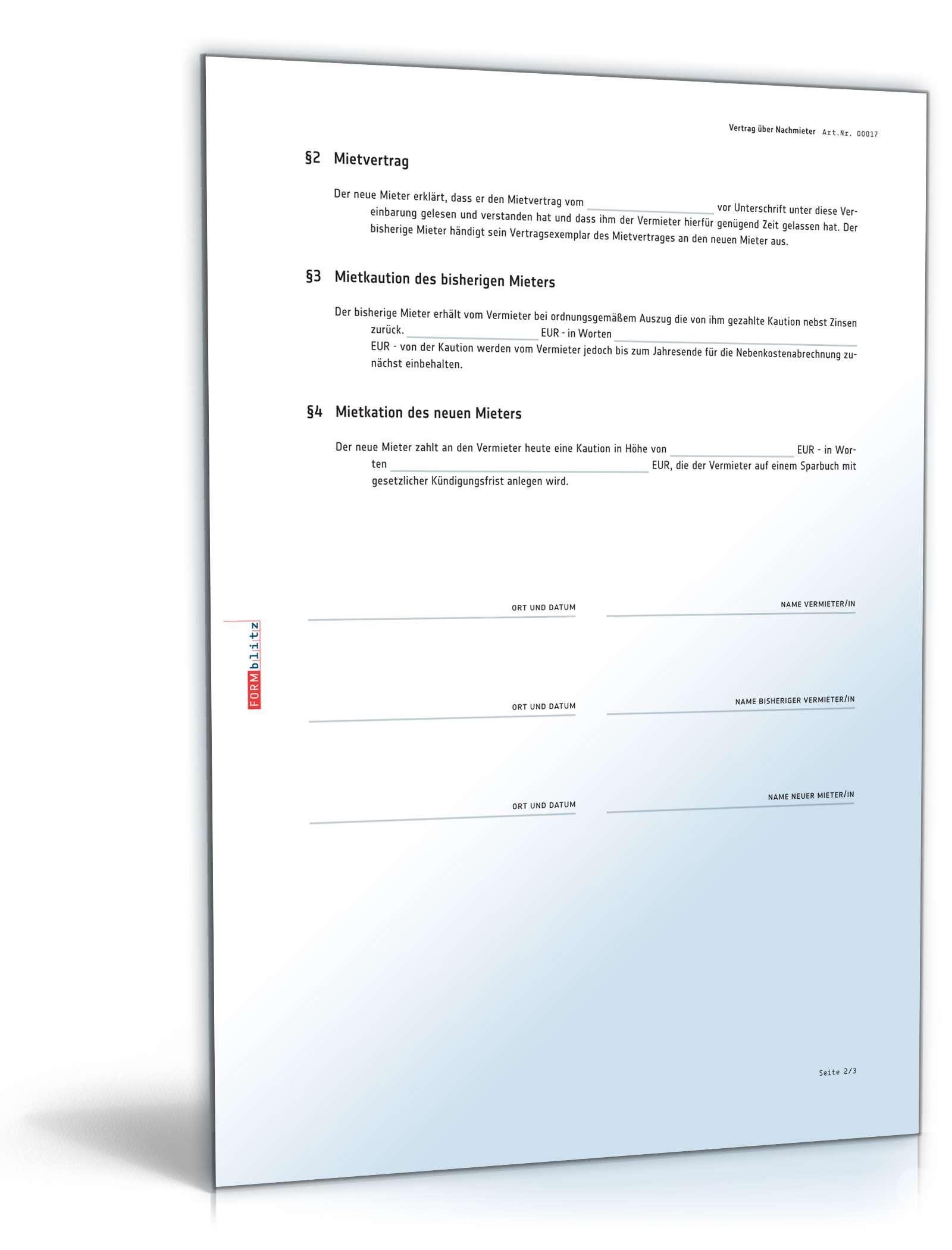 Nachmietervertrag Zur Wohnungsübernahme Muster Zum Download