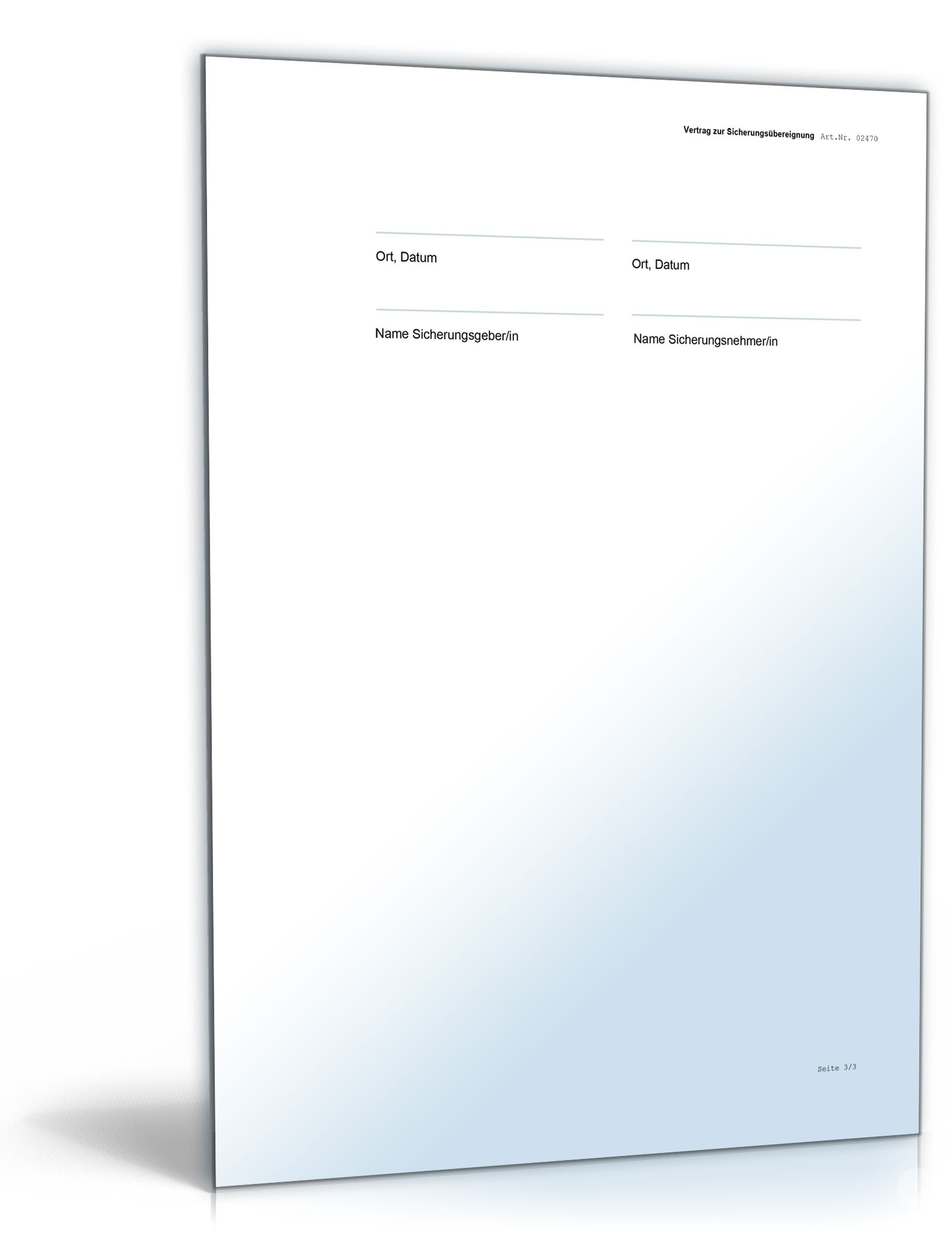 Vertrag Zur Sicherungsübereignung Muster Vorlage Zum Download