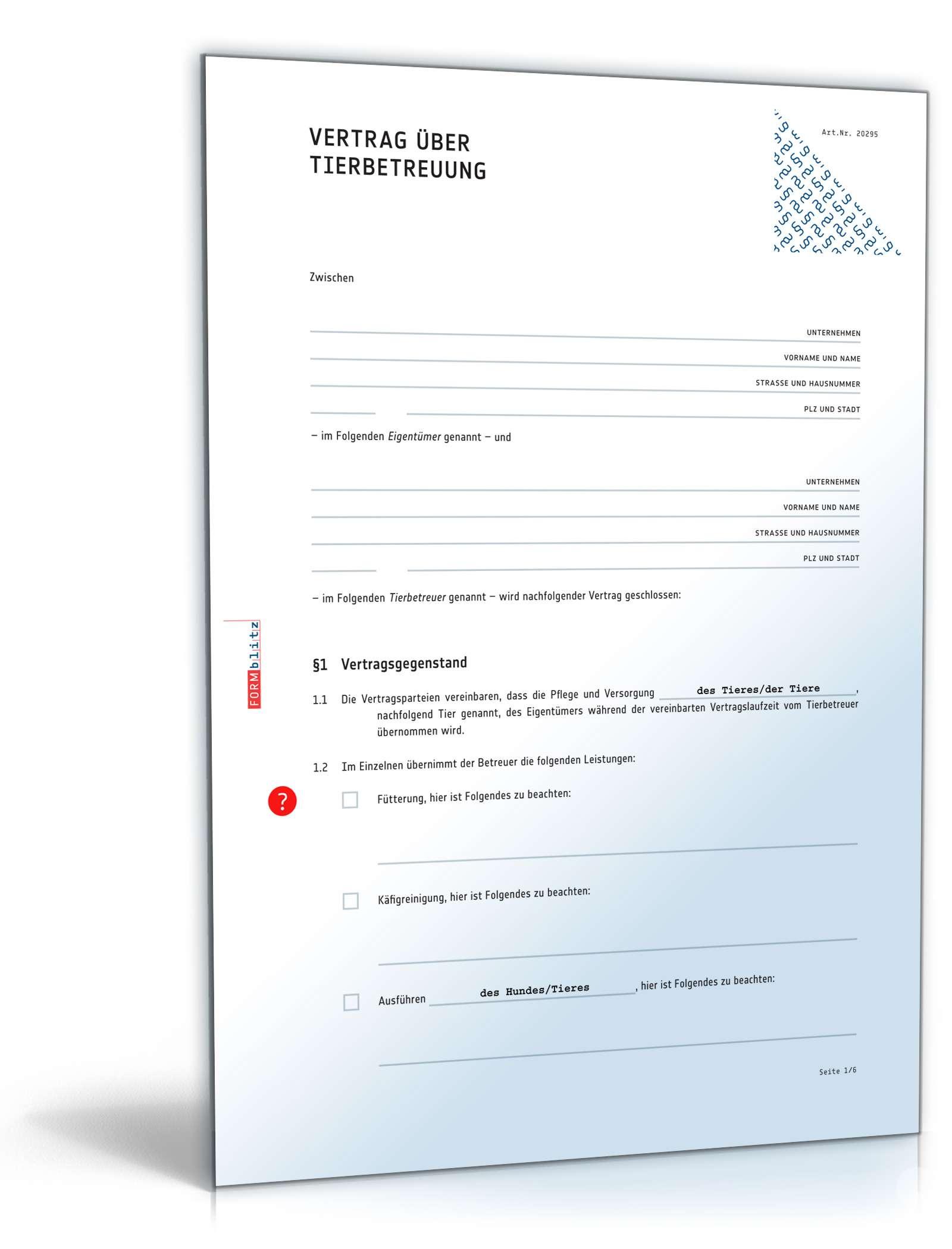 Vertrag Tierbetreuung | Rechtssicheres Muster zum Download