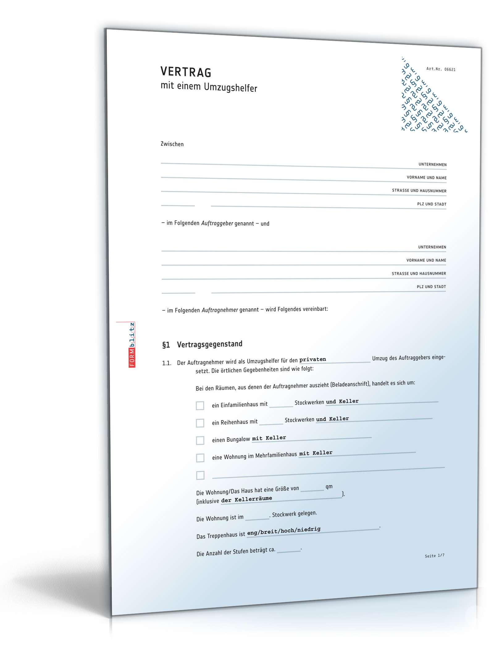 Küchenverkauf Privat Vertrag ~ vertrag umzugshelfer muster zum download