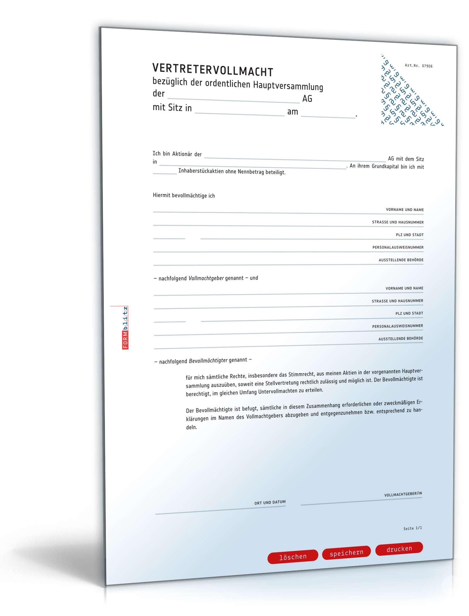 Vollmacht Vertretung Hauptversammlung Muster Zum Download