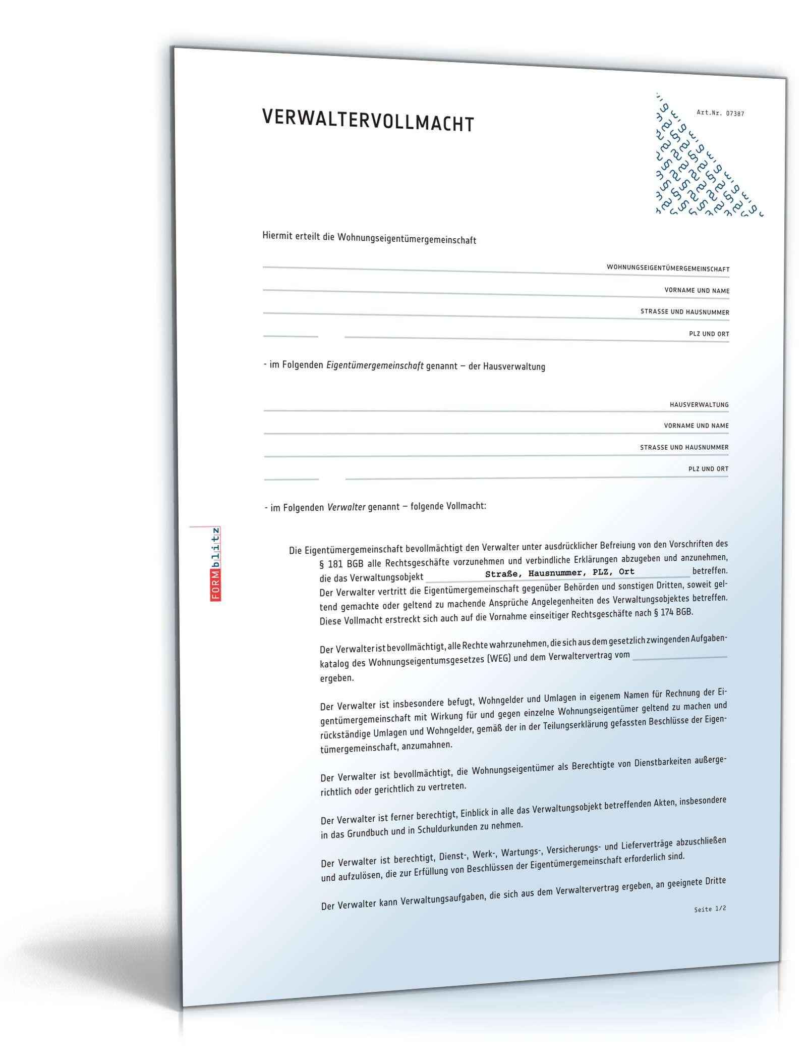 verwaltervollmacht wohnungseigentümergemeinschaft | muster zum, Einladung