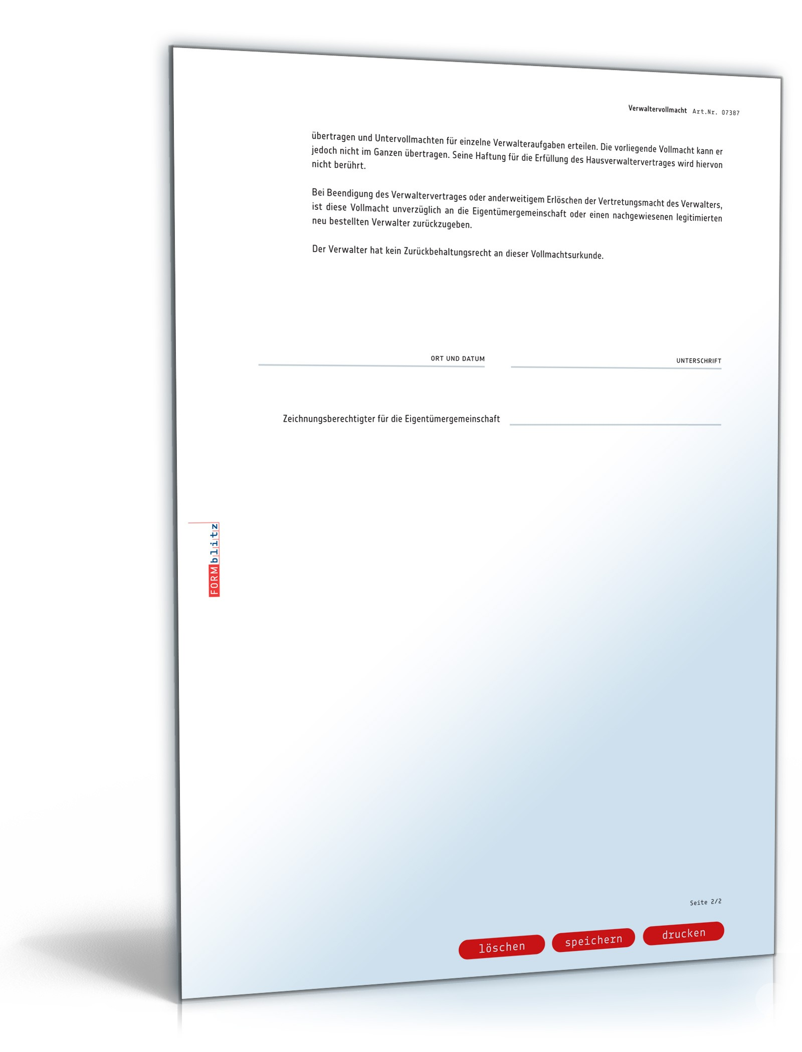 Verwaltervollmacht Wohnungseigentümergemeinschaft Muster Zum Download