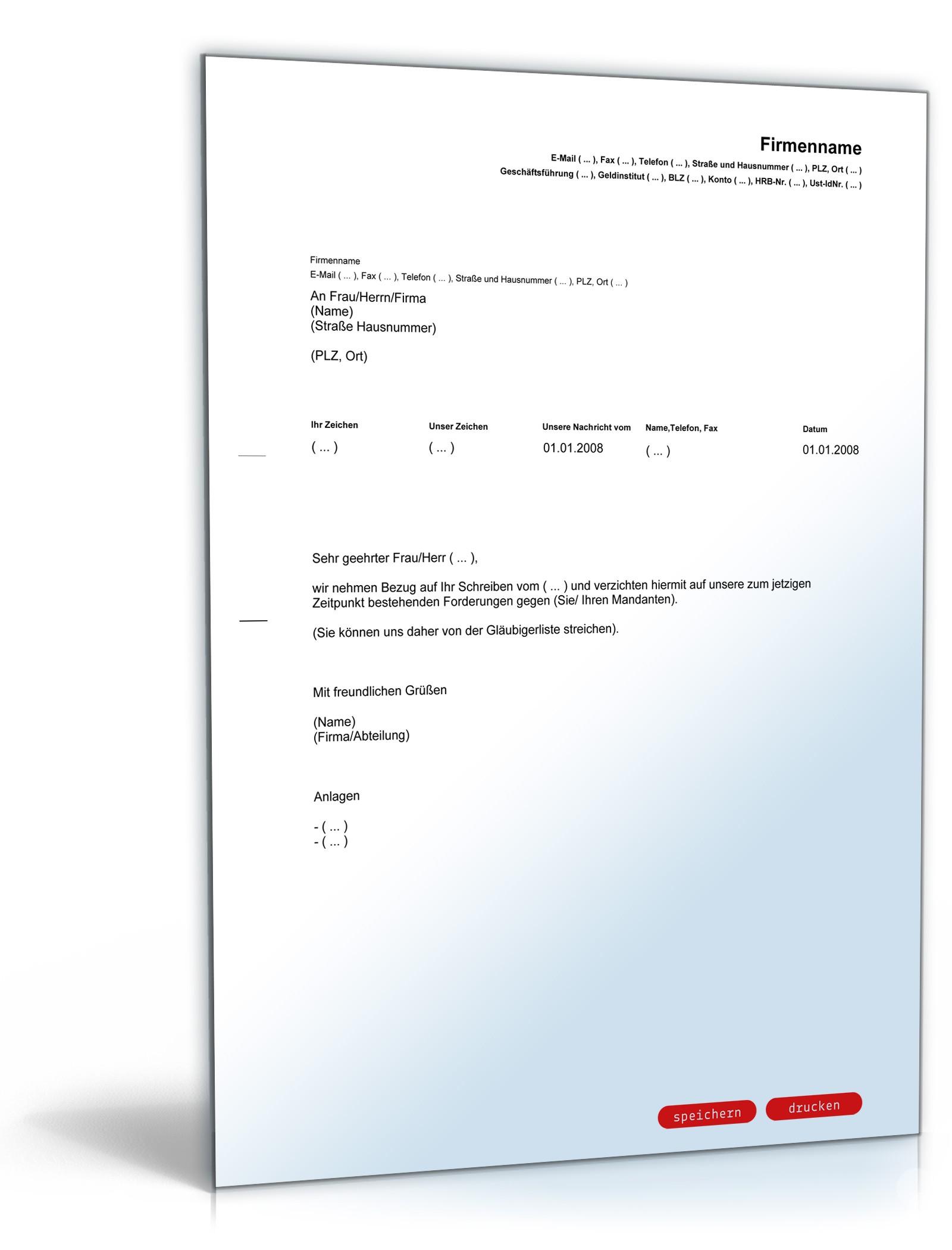 forderungsverzicht im insolvenzverfahren muster zum download - Verzichtserklarung Muster