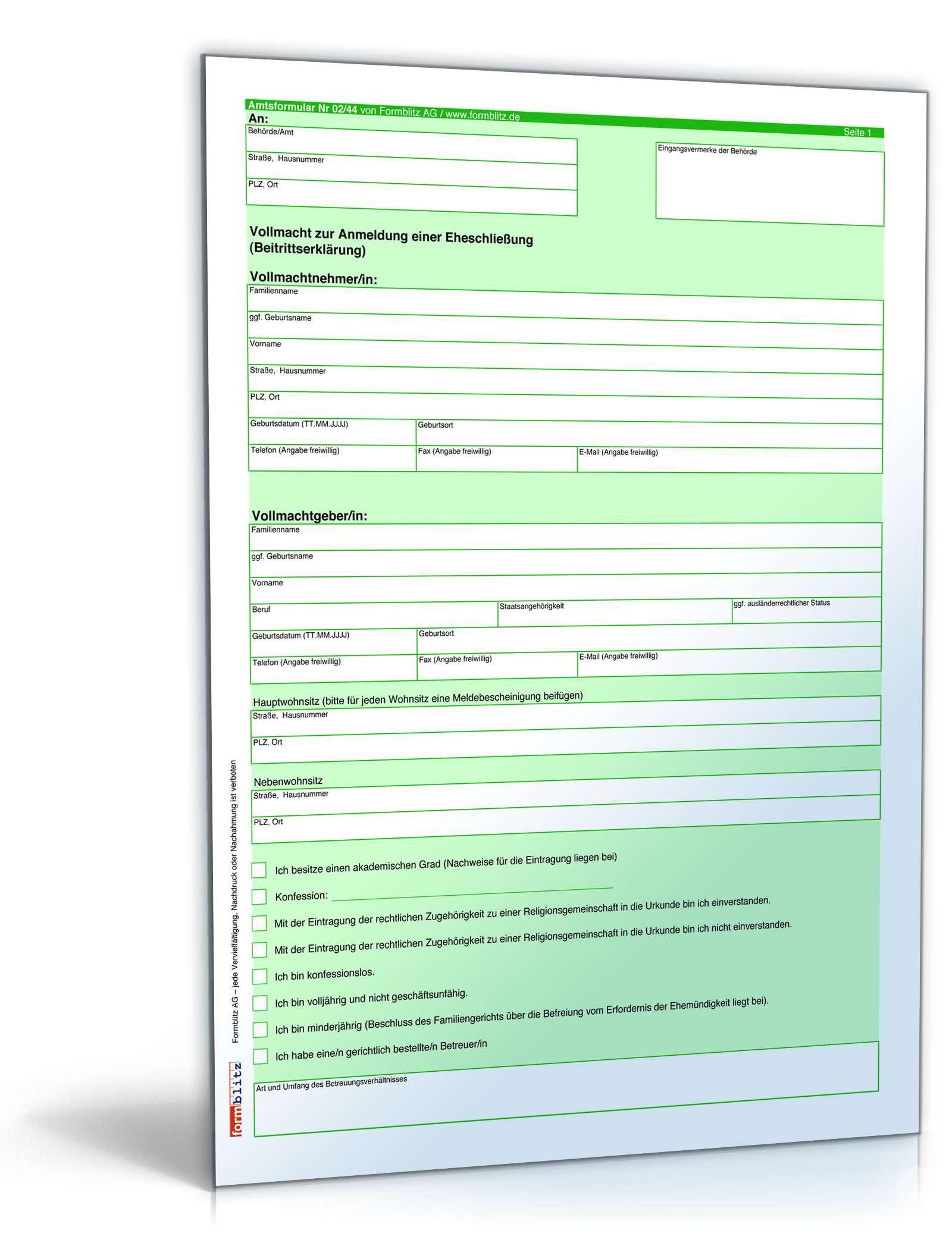 Vollmacht Anmeldung Eheschließung Formular Zum Download