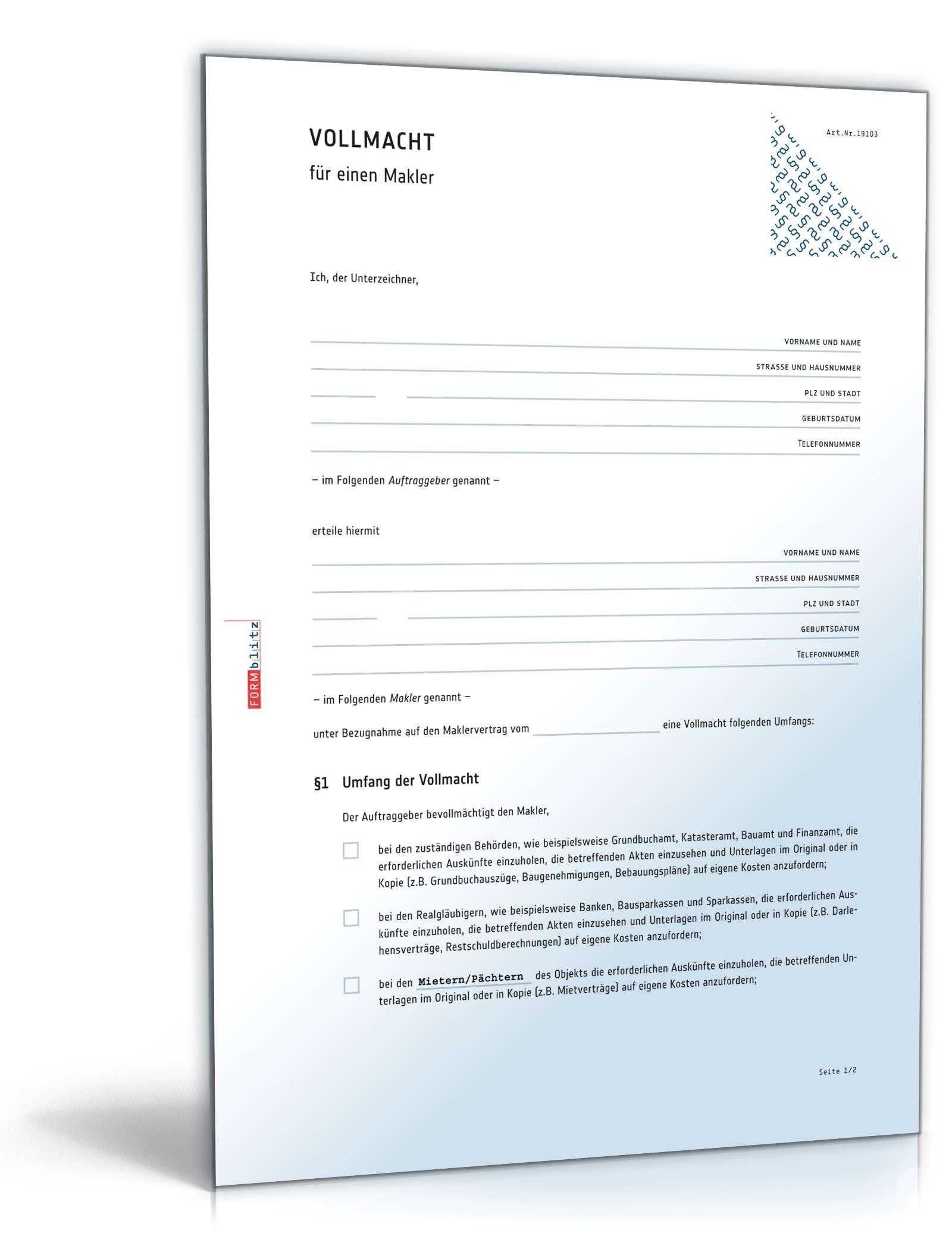 Maklervollmacht Rechtssicheres Muster Zum Download