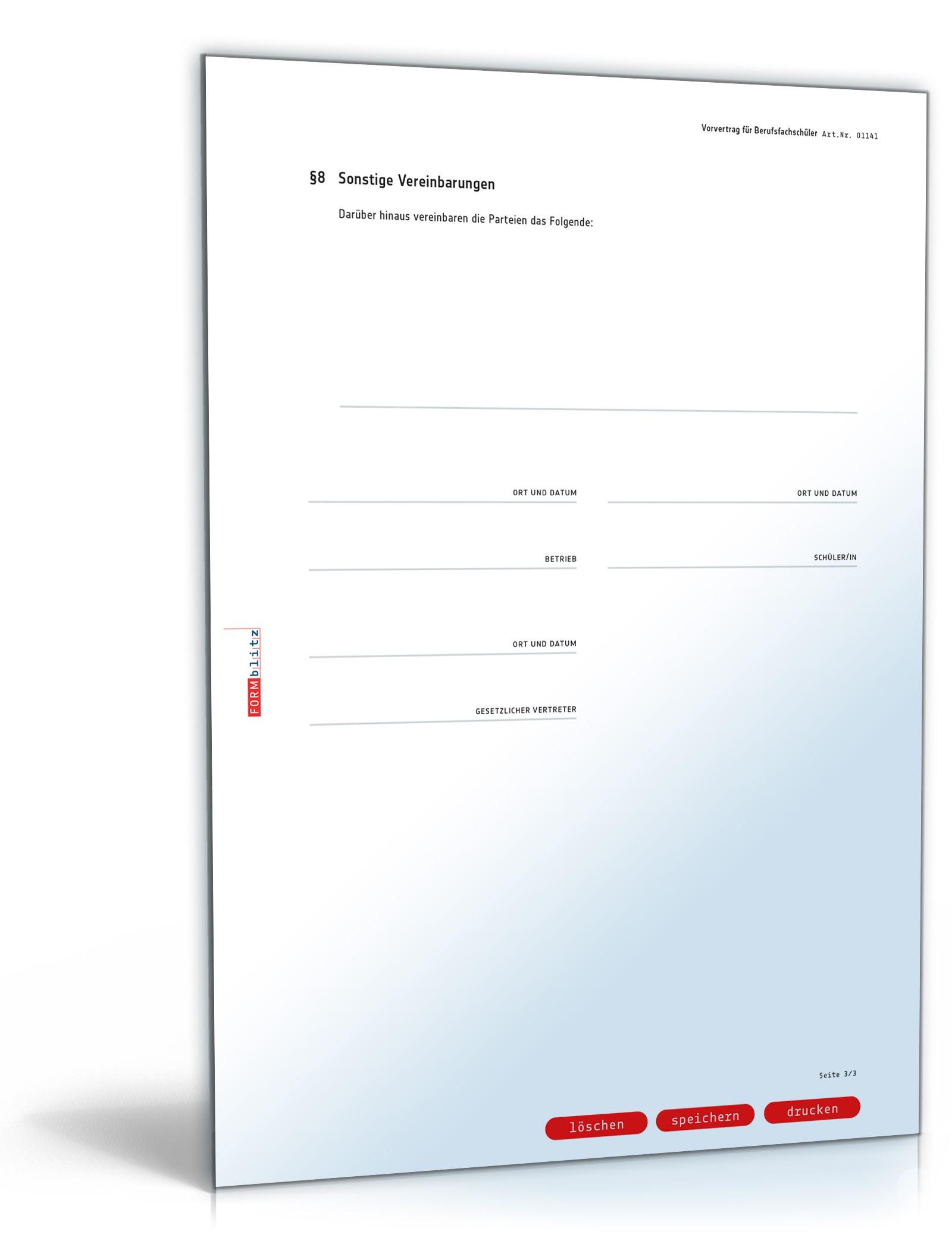 Vorvertrag Für Berufsfachschüler Muster Zum Download