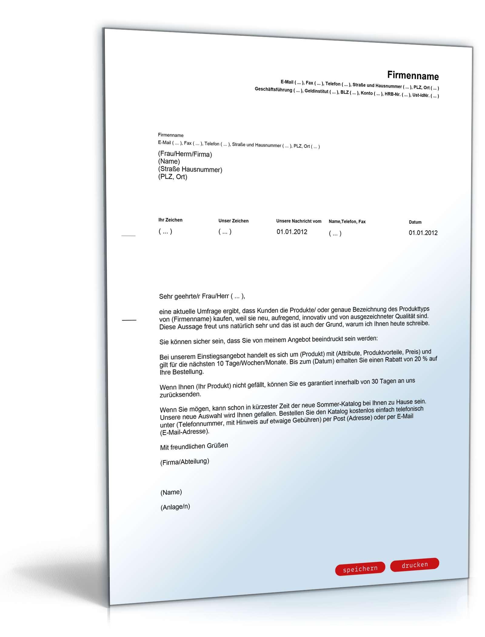 Musterbriefe Unterlagen Schicken : Allgemeiner werbebrief neue produkte vorlage zum download