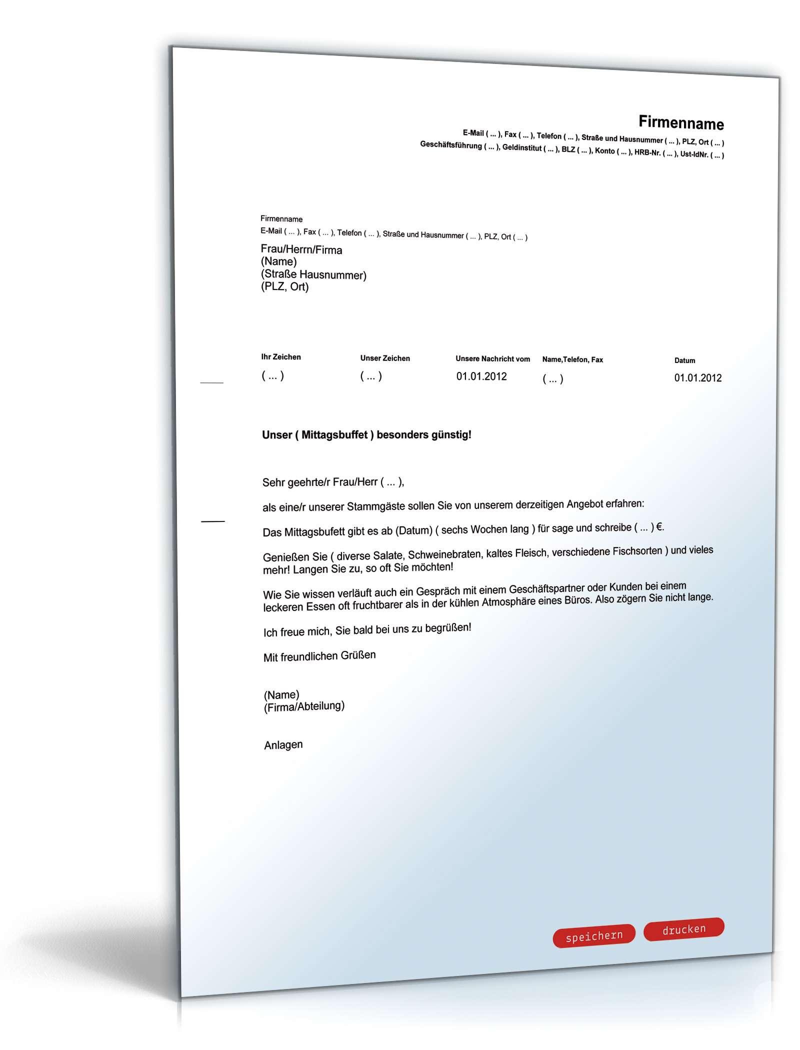 Werbebrief Für Ein Buffet Vorlage Zum Download