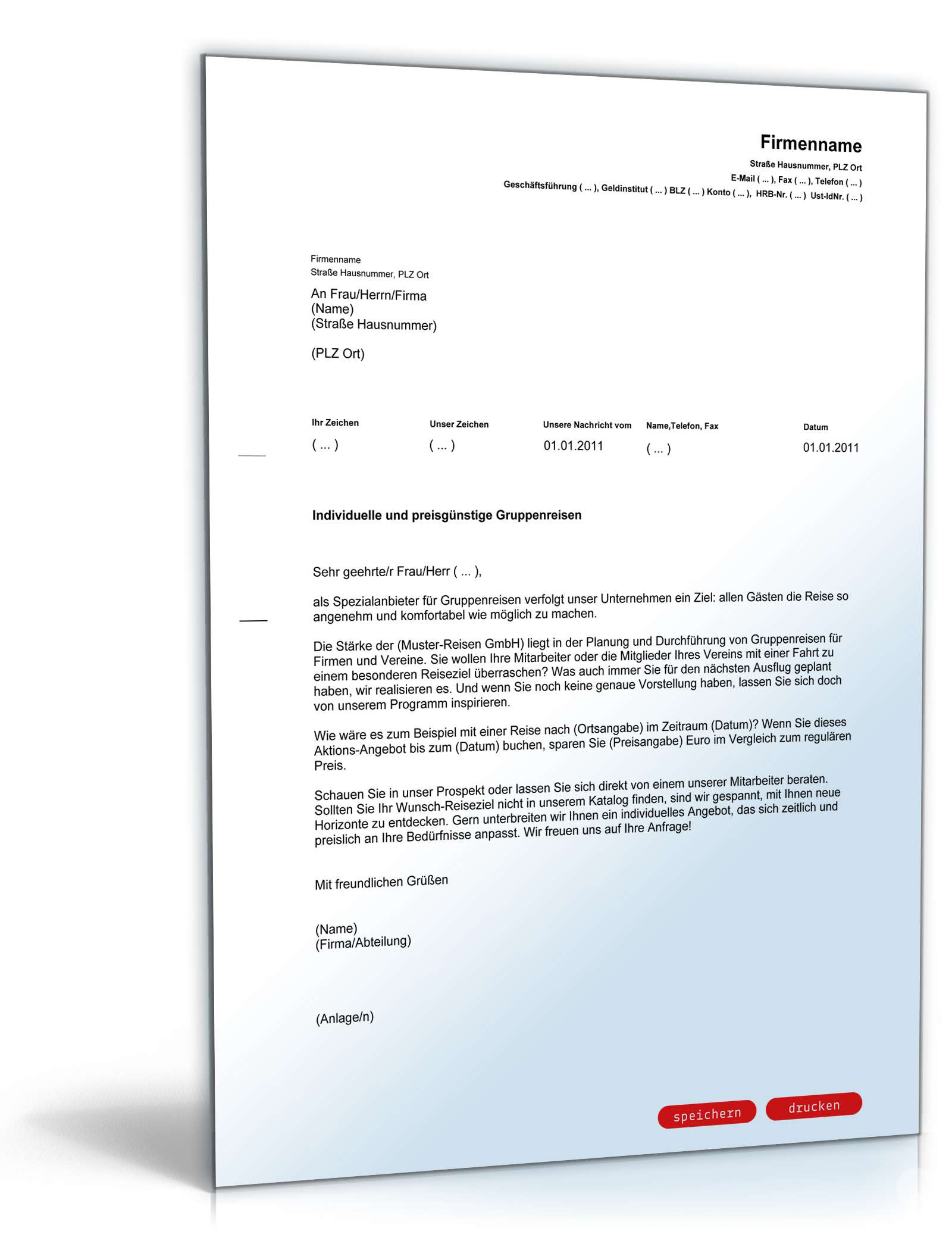 Musterbriefe Kostenlos Geschäftsbriefe : Werbebrief busreiseveranstalter vorlage zum download