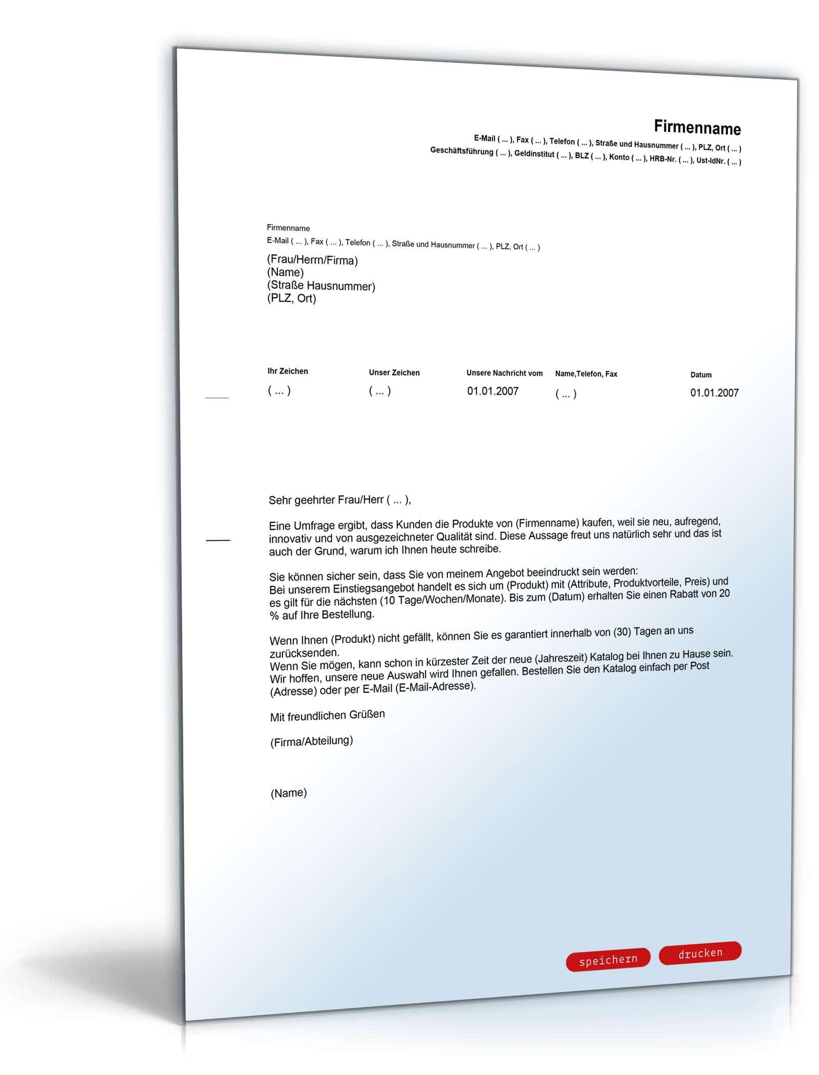 Allgemeiner Werbebrief Englischdeutsch Muster Zum Download