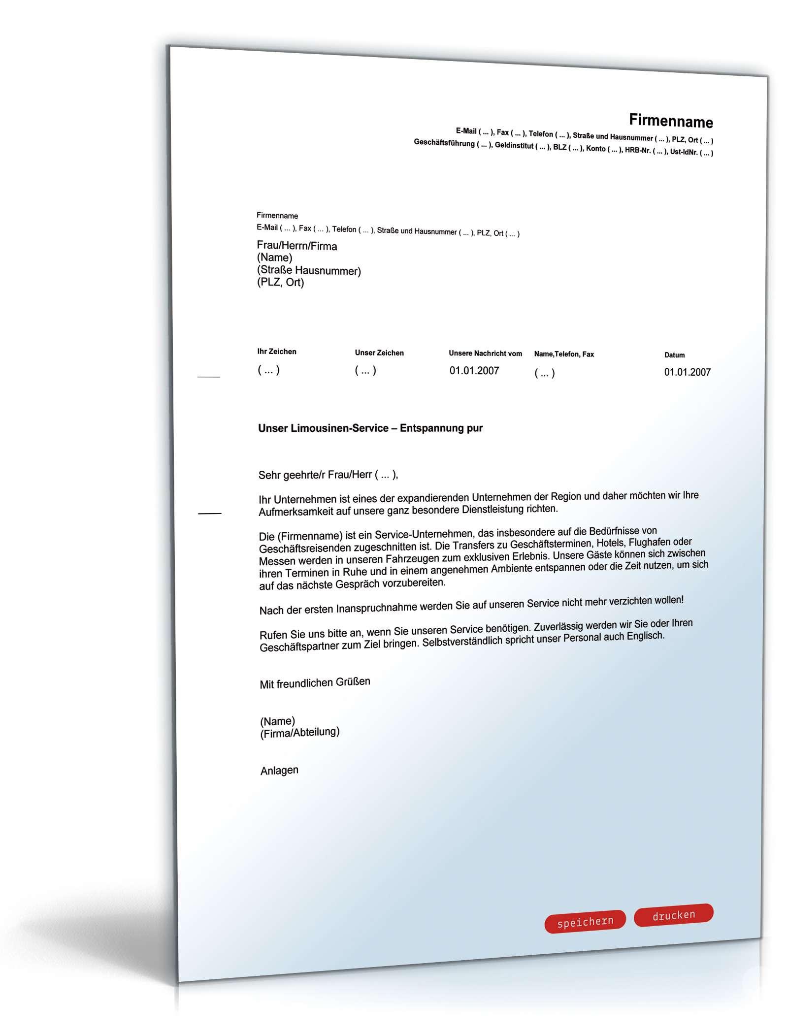 Werbebrief für einen Limousinenservice | Vorlage zum Download