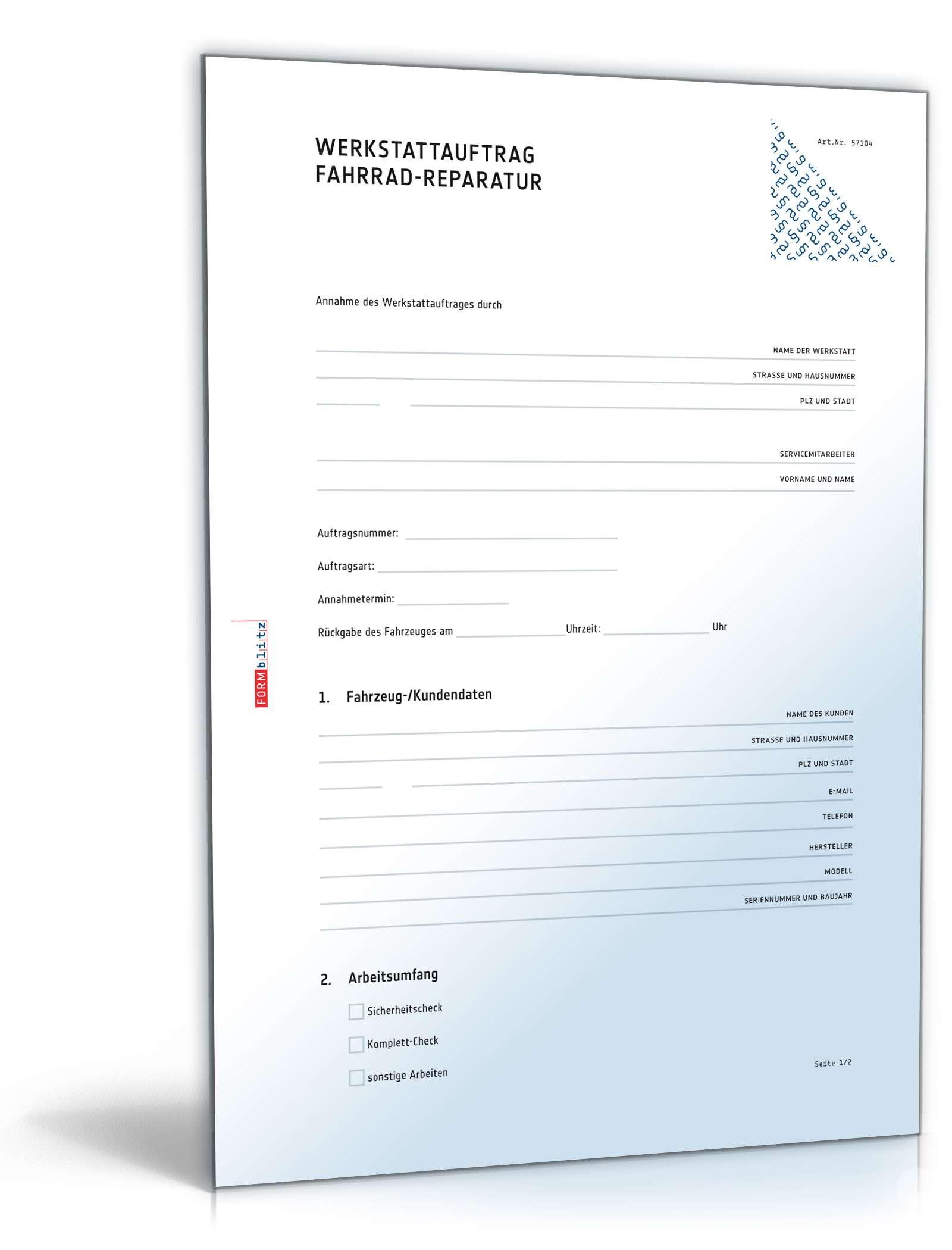 Werkstattauftrag Kfz Reparatur Muster Zum Download 0