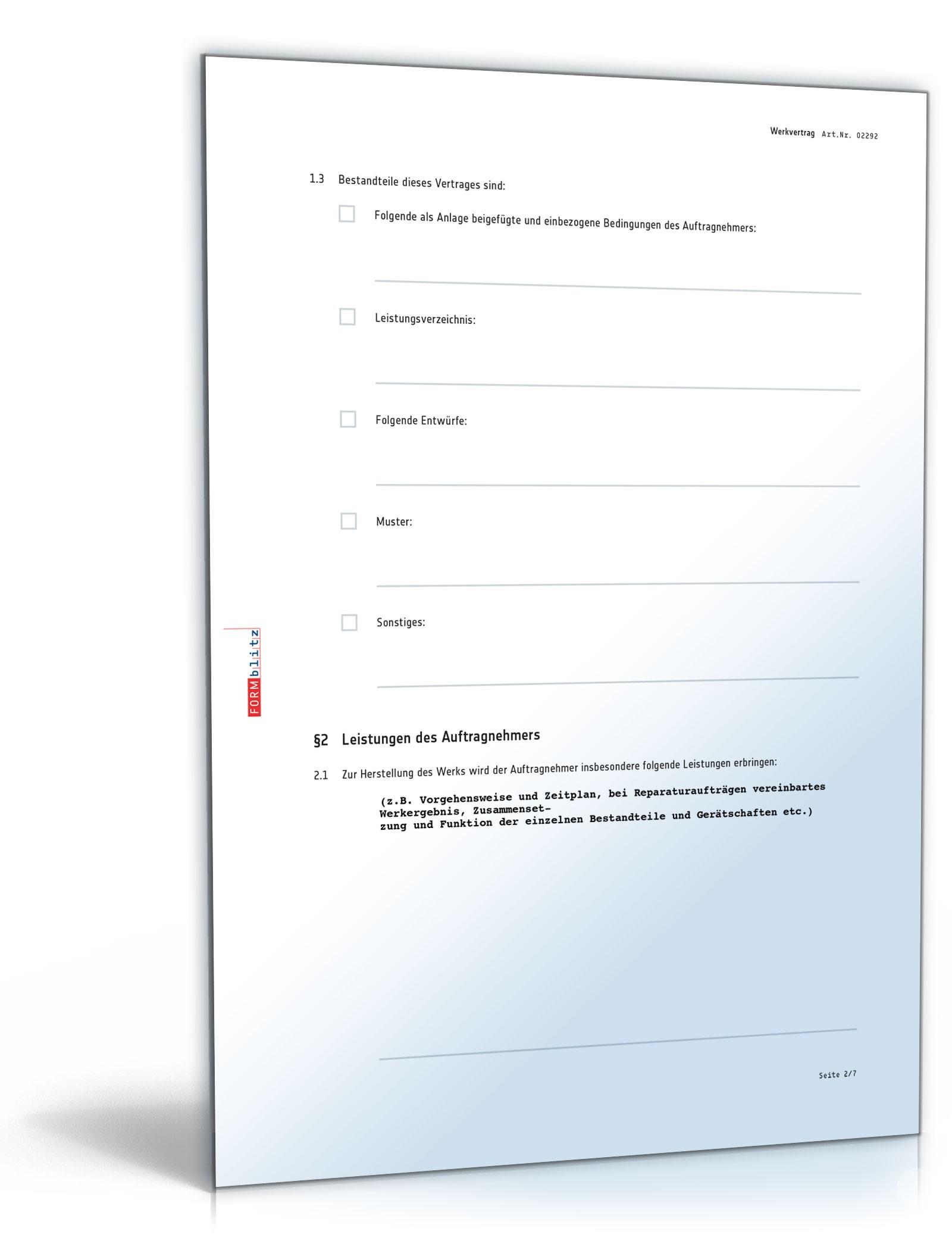 Werkvertrag Nach Bgb Rechtssicheres Muster Zum Download